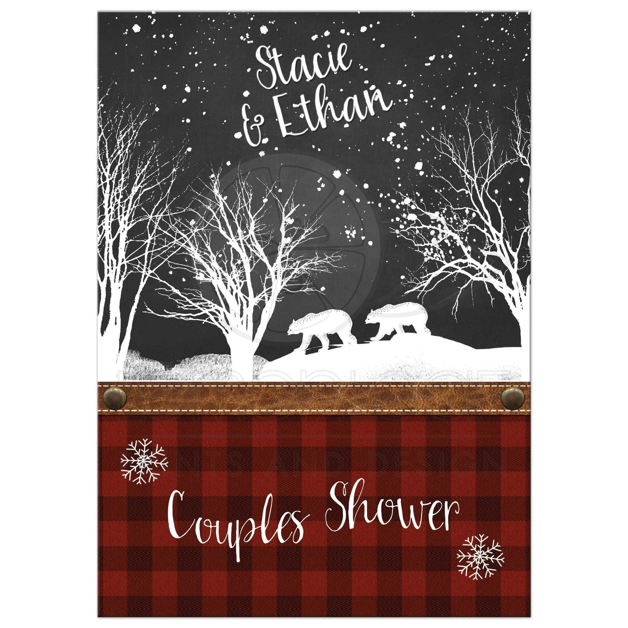 Couples Shower Invitation | Rustic Plaid, Winter Woods, Bears | Snow