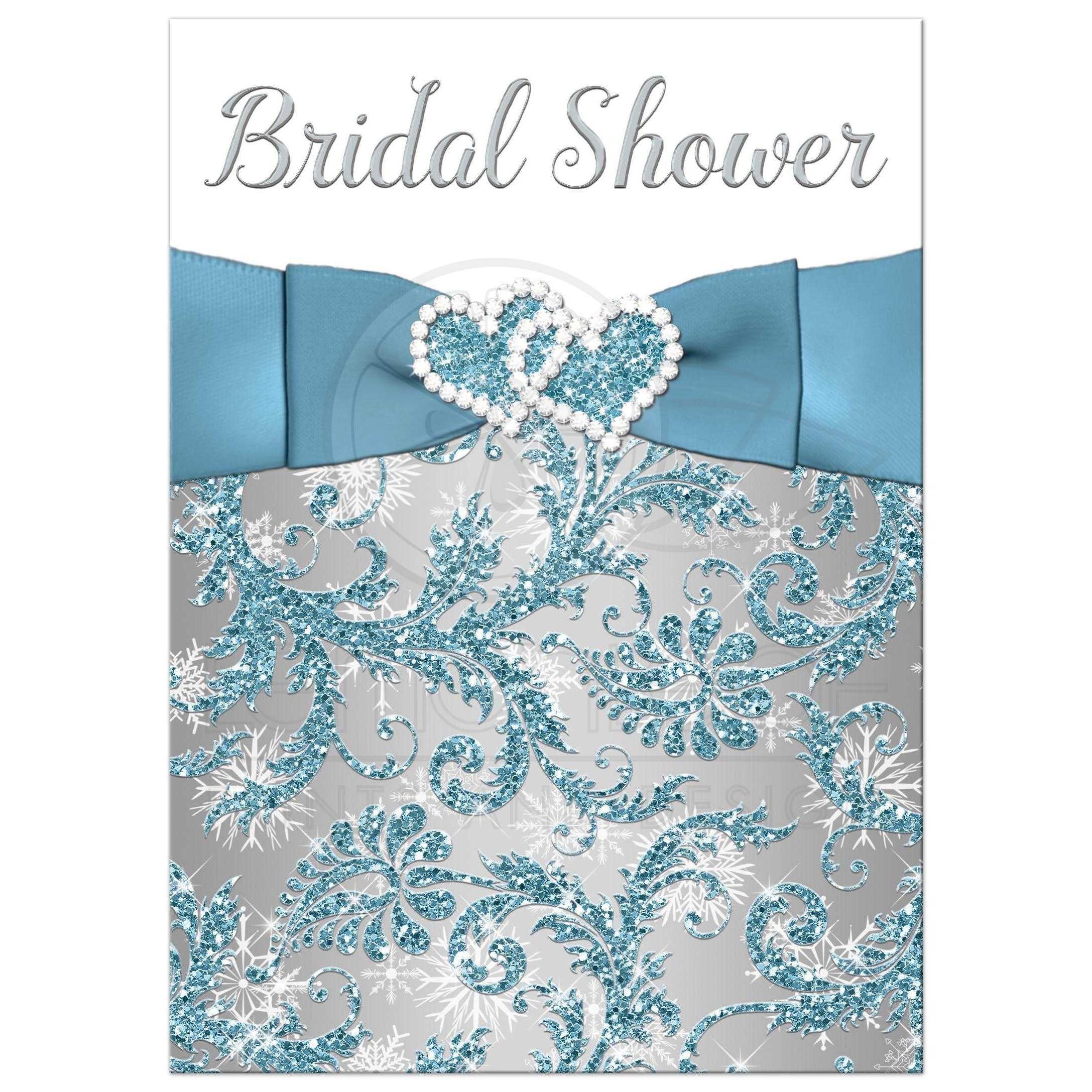38152_Rectangle_BlueSilverWhiteDamaskGlitterSnowFlakesWeddingShower?t=1442893966 bridal shower invitation winter wonderland ice blue, silver,Winter Wonderland Bridal Shower Invitations