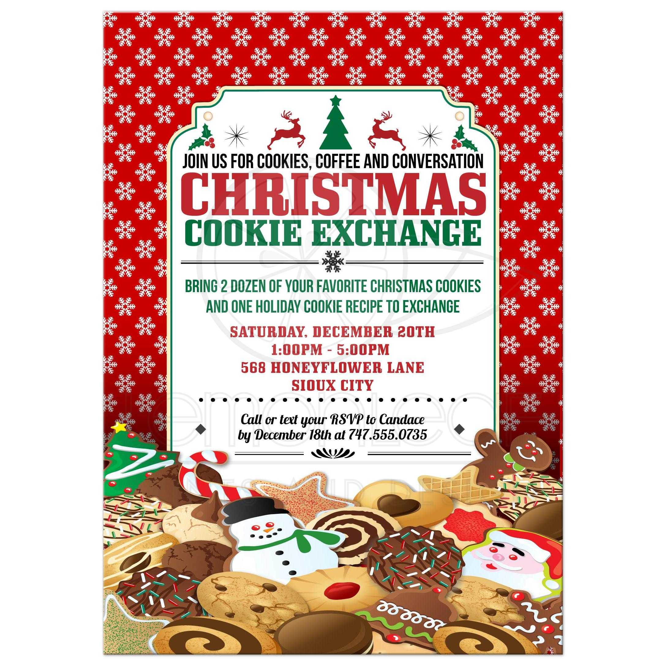 Party Invitation Christmas Cookie Exchange Swap