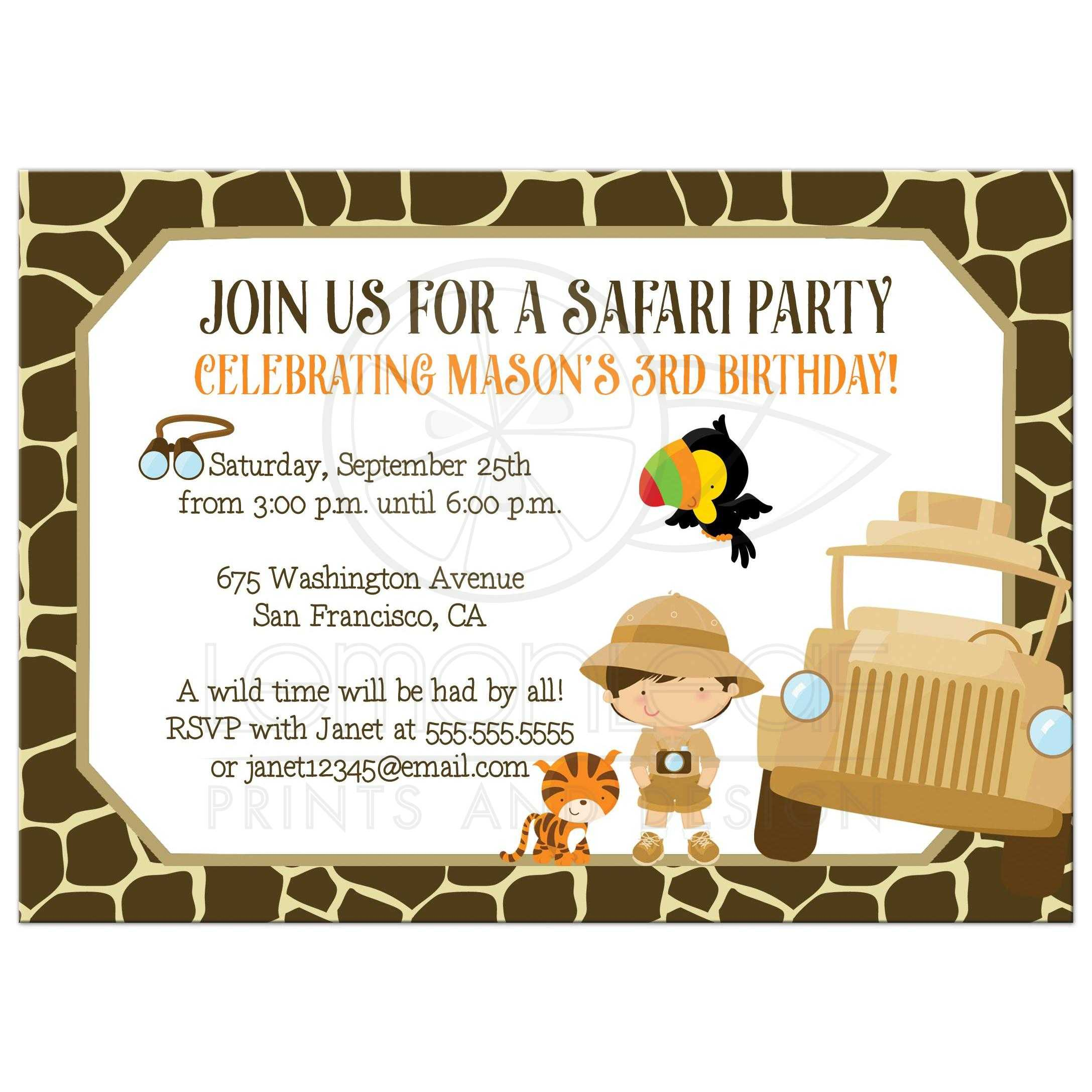 Safari Birthday Party Invitation - Tiger and Boy