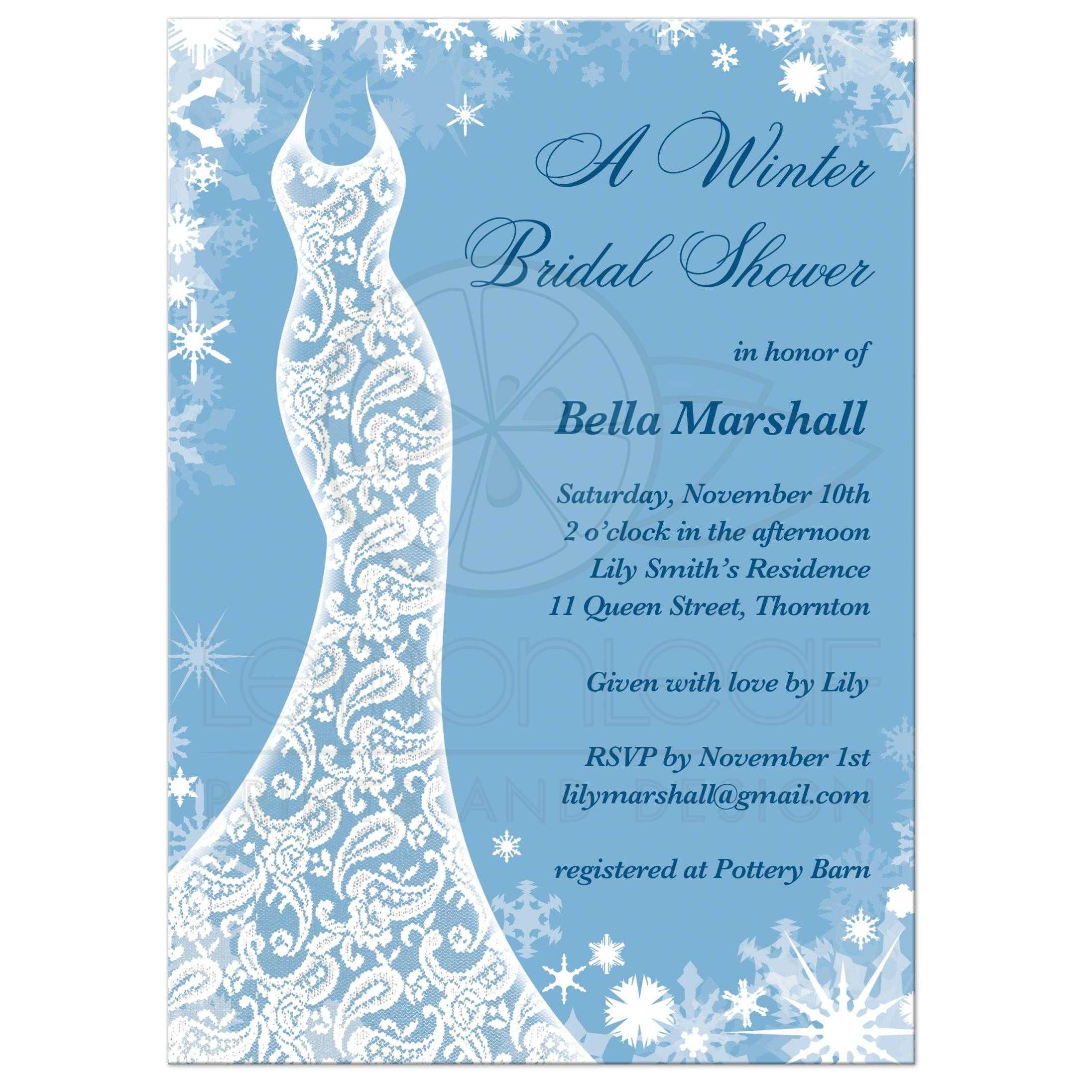 Bridal shower invitation beautiful winter ice blue this winter bridal shower invitation is decorated with delicate snowflakes and a lacy wedding dress on filmwisefo Choice Image