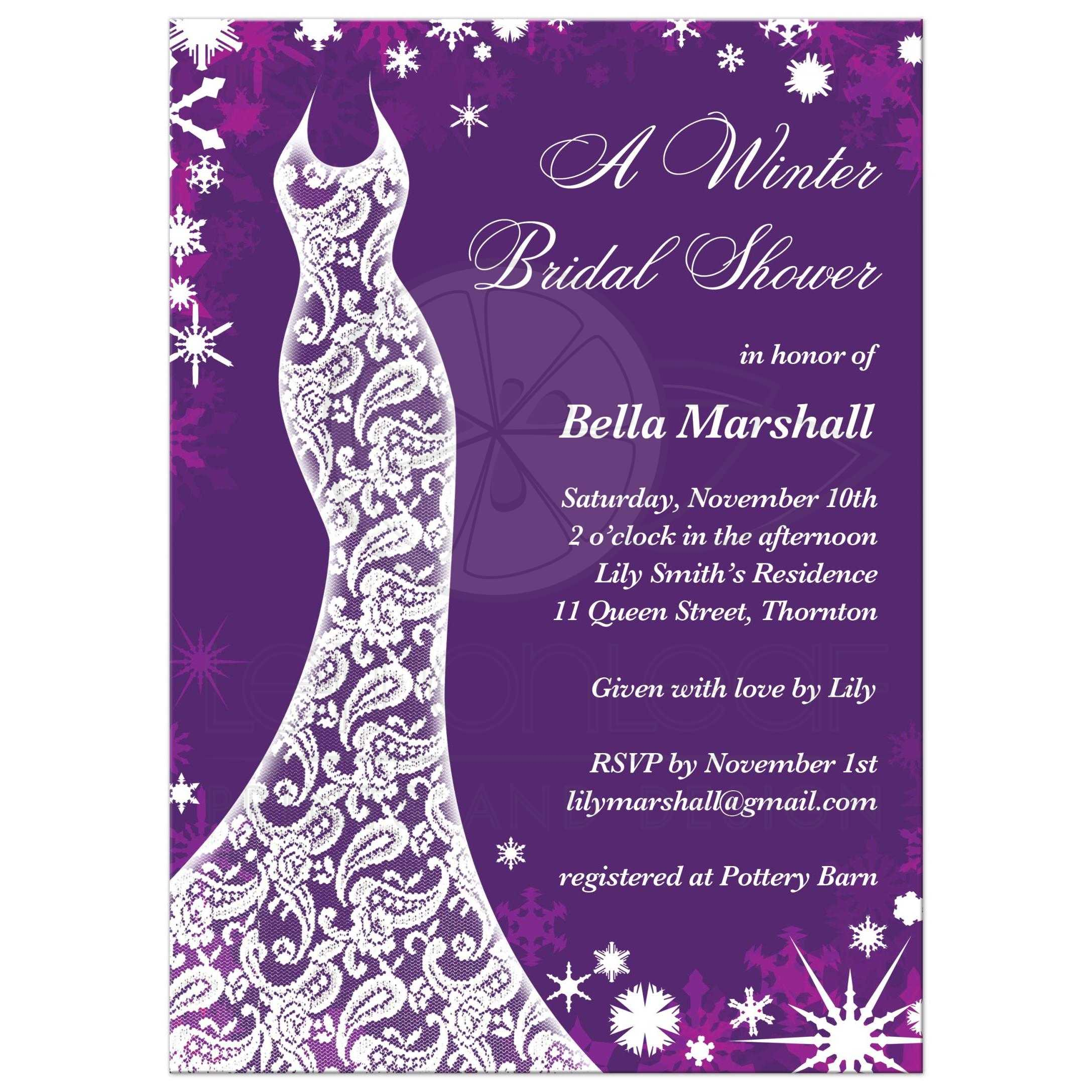 this winter bridal shower invitation is decorated with delicate snowflakes and a lacy wedding dress on