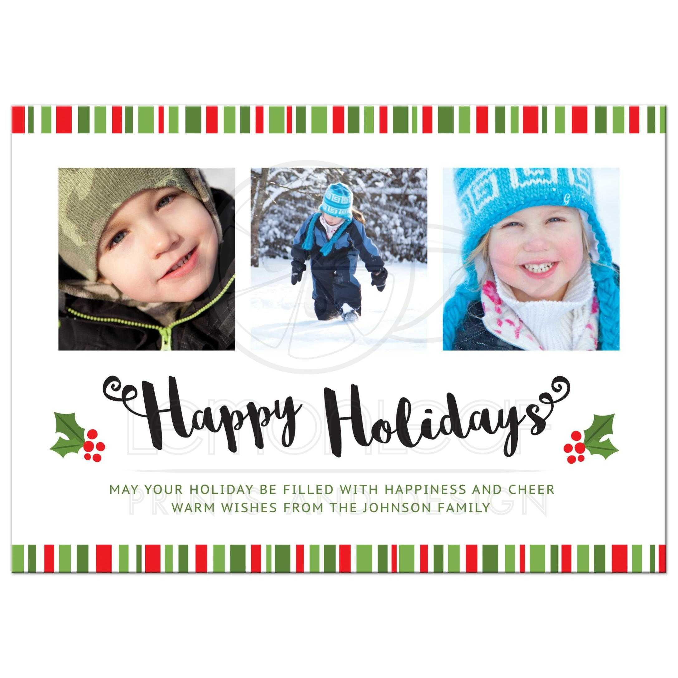 modern sleek and clean happy holiday card with photo templates