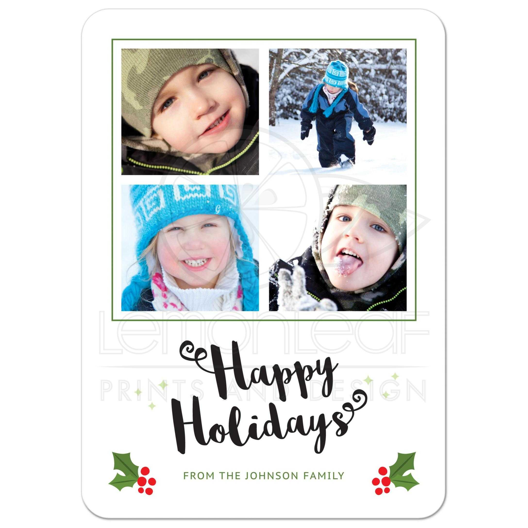 modern happy holidays card with holly and berries four photos