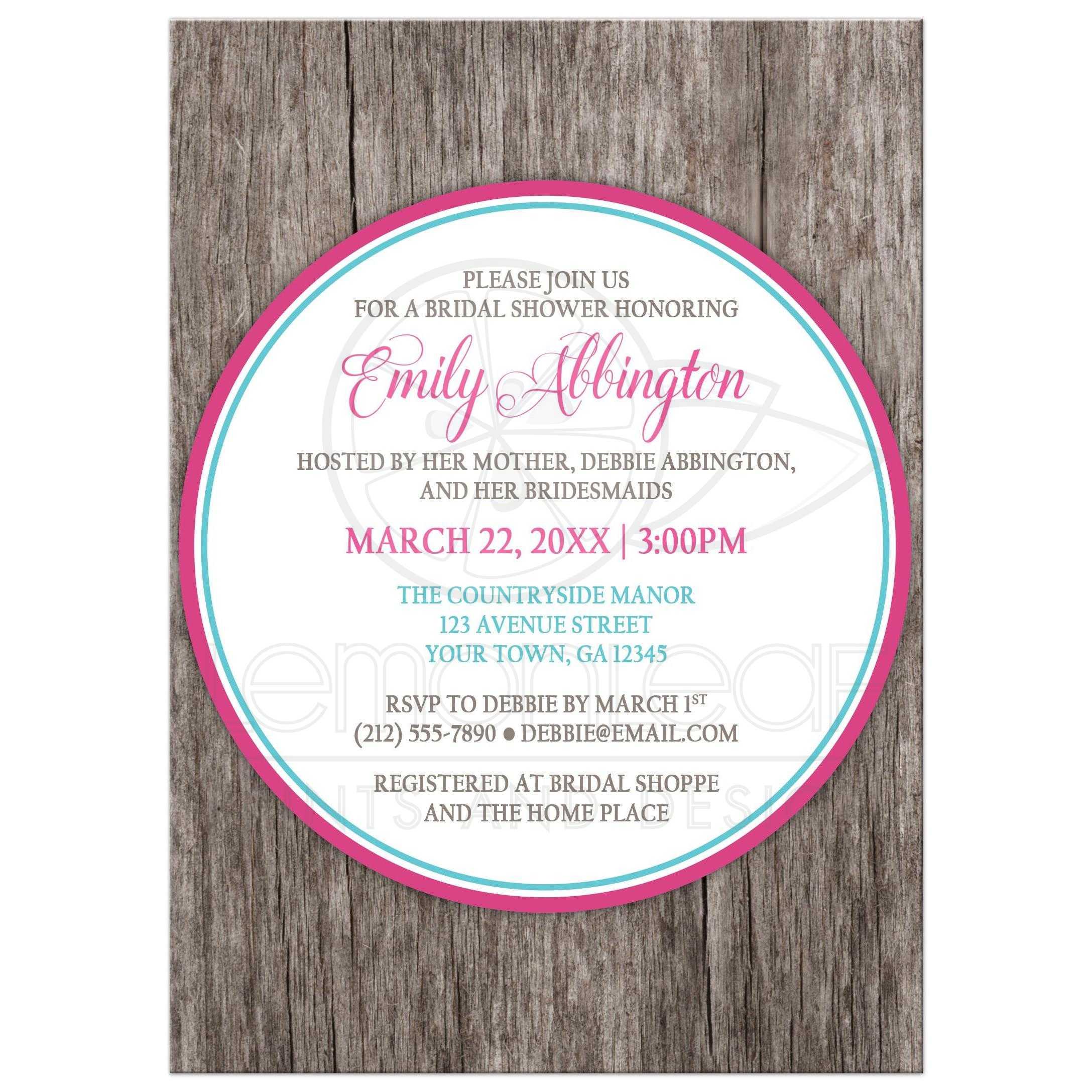 Bridal Shower Invitations - Fuchsia Pink Turquoise Rustic Wood