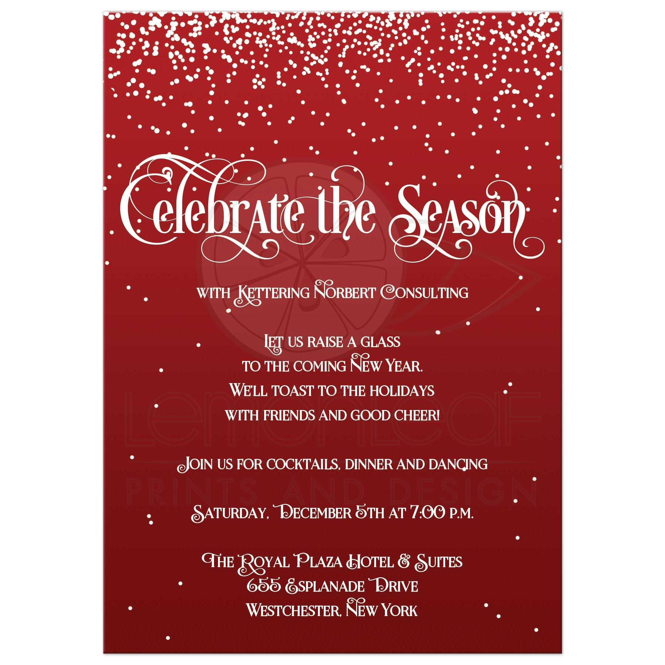 Holiday Party Invitation | Celebrate the Season | Red, White Falling ...