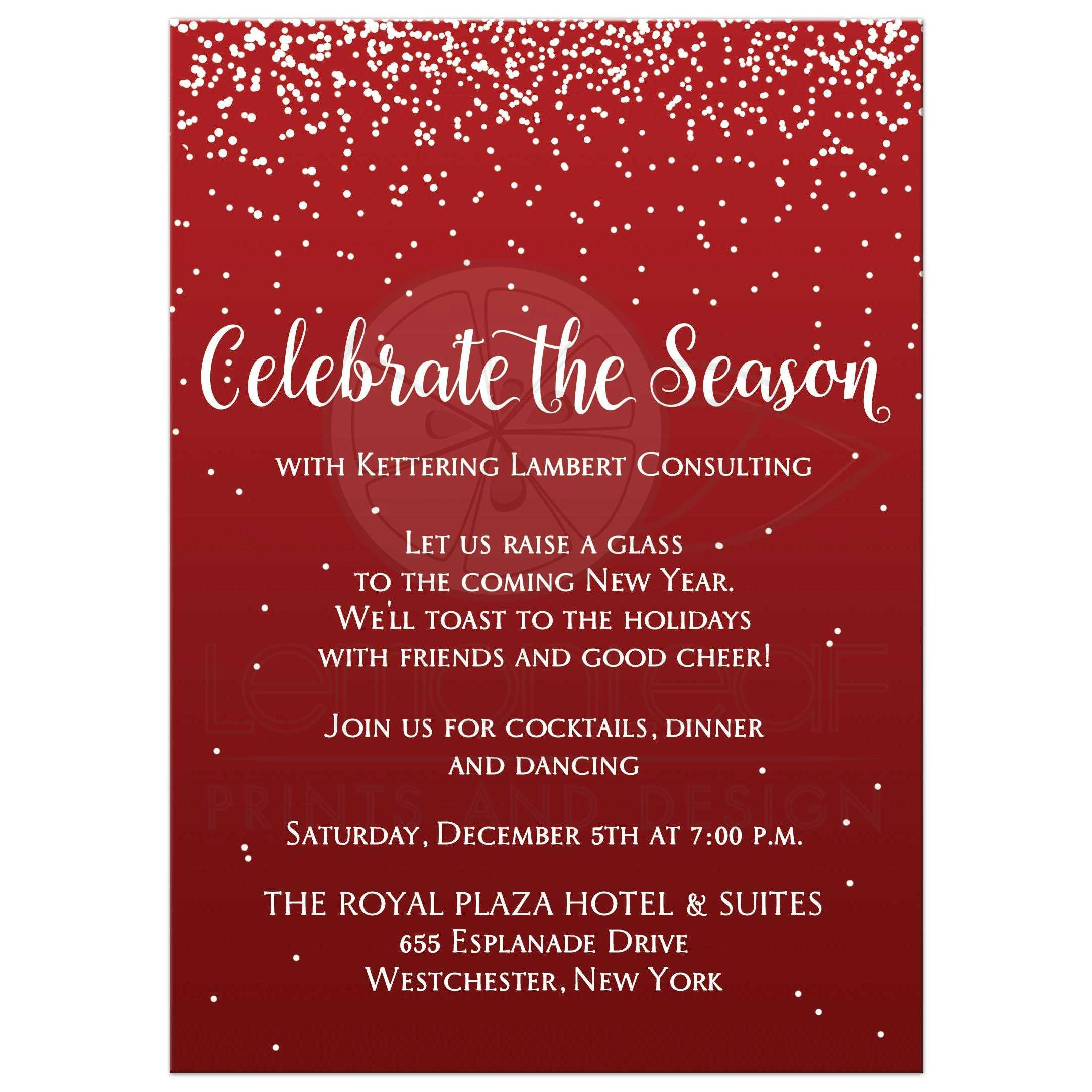 best red and white falling snow corporate or company holiday or christmas party invitation with