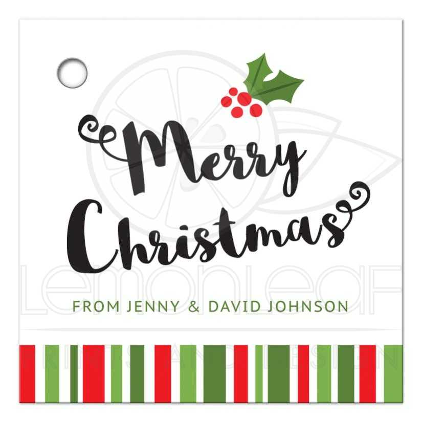 Personalized Christmas gift tag with holly and red and green stripes