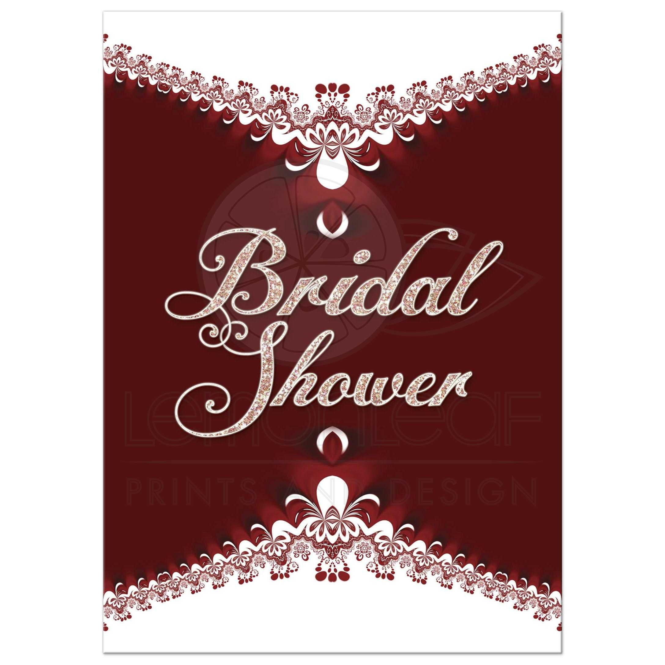 Royal Red+White Lace Bridal Shower Invitation