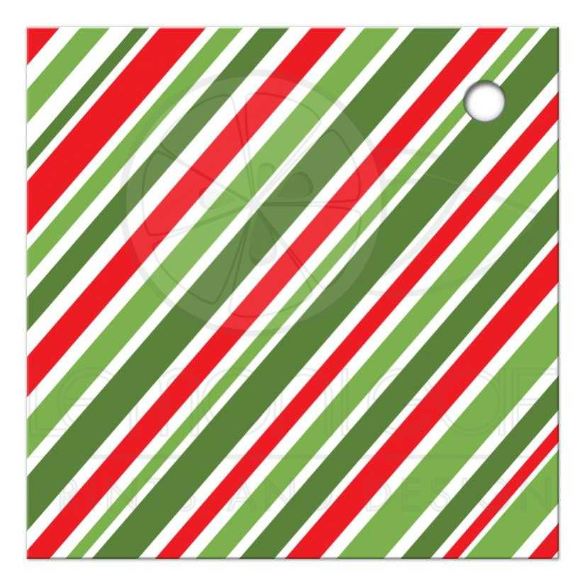 Holly and green stripes Happy Holidays Christmas gift tag with ...