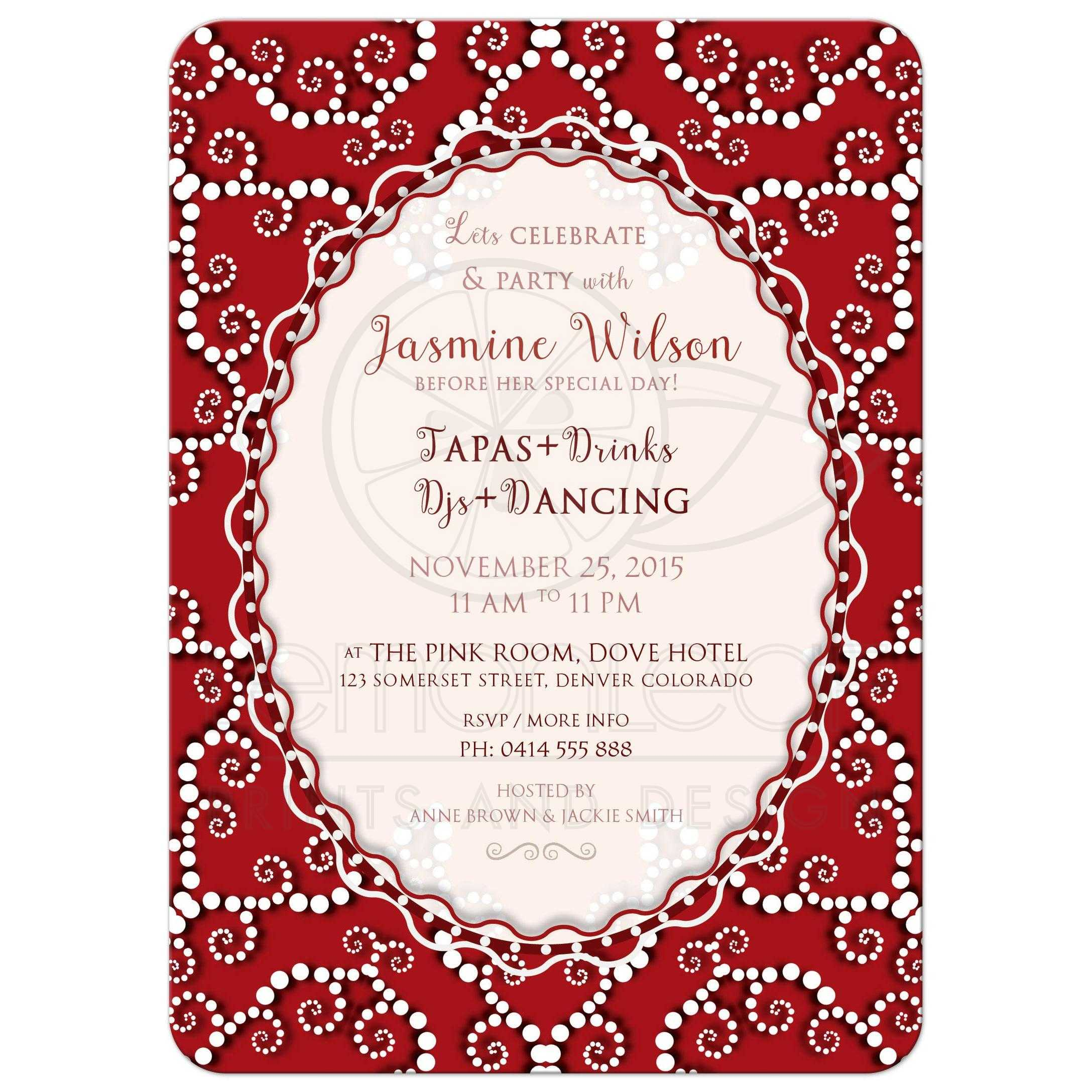 Red Moroccan Bridal Shower Invitation