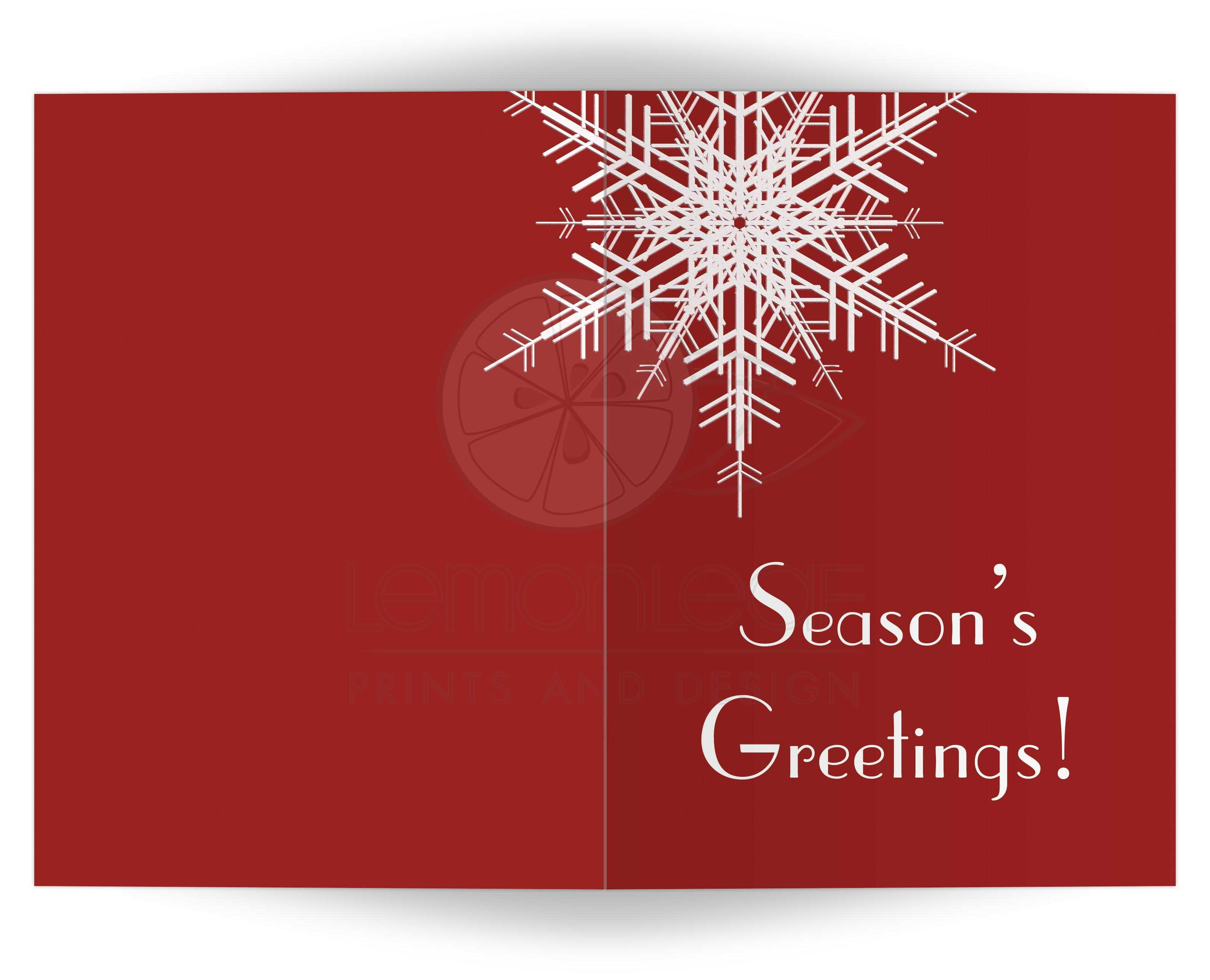 Holiday card seasons greetings snowflake on red 5x7 a large snowflake decorates this non denominational red holiday card m4hsunfo