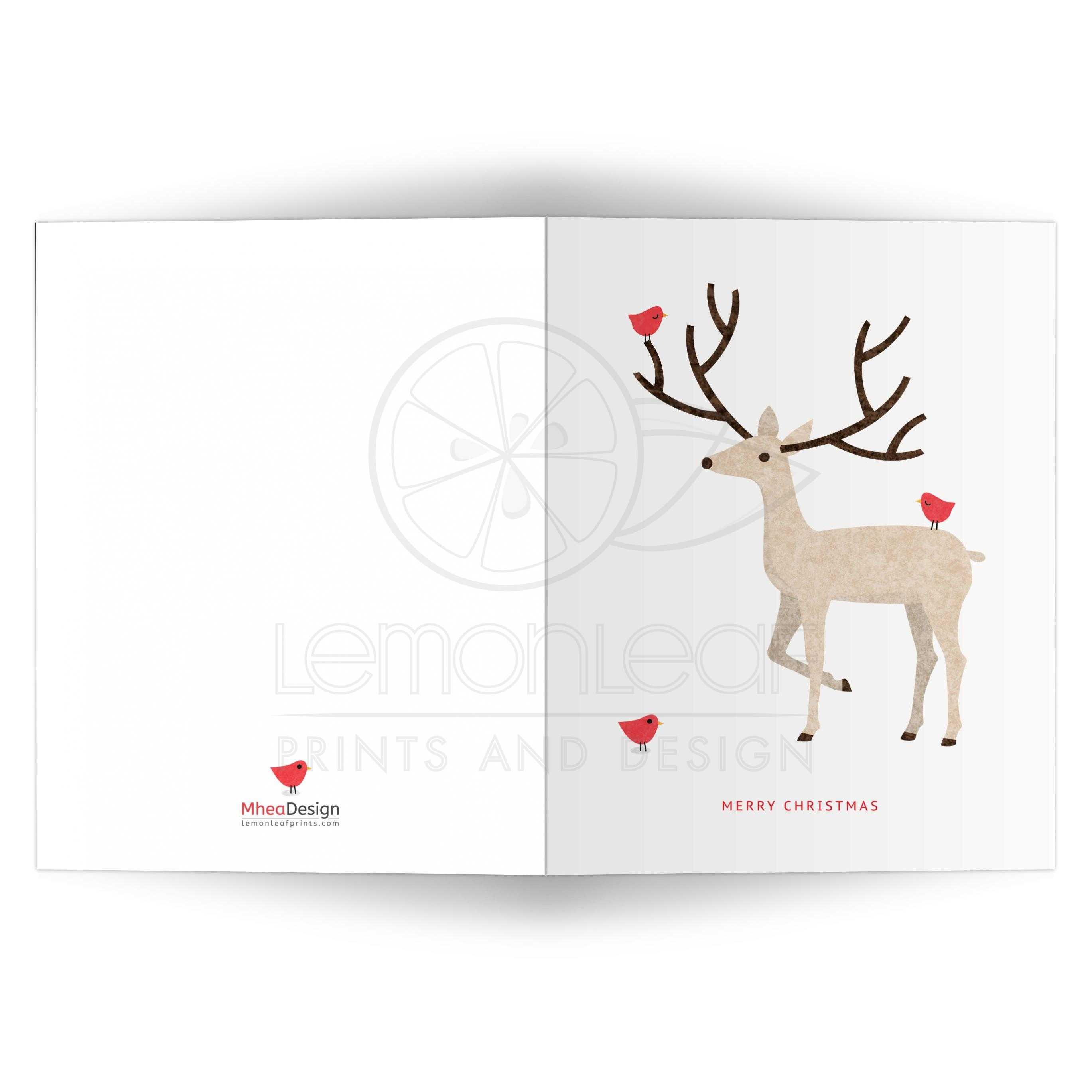 Stag (deer) with red birds | Simple, modern Merry Christmas card