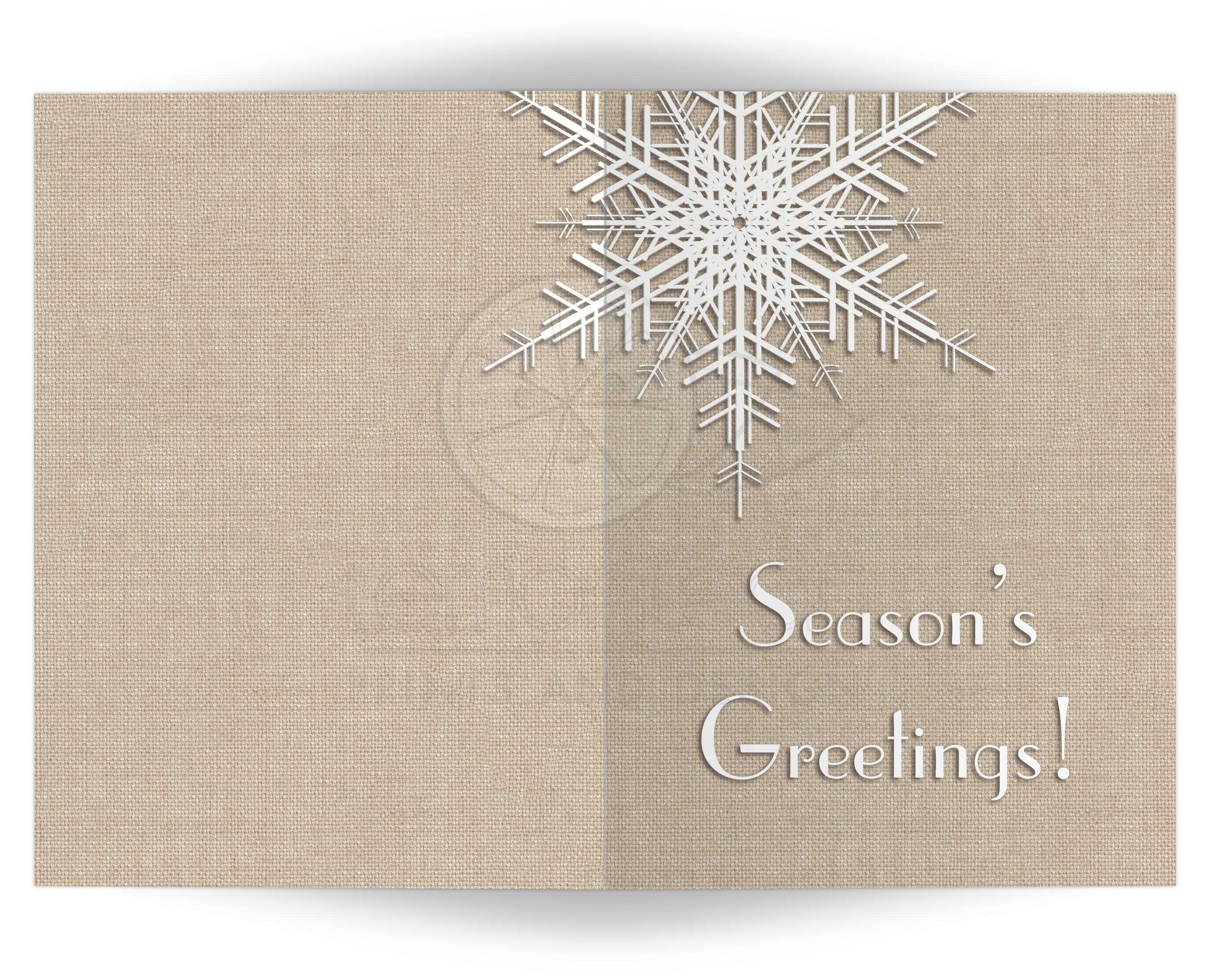 Holiday Card Seasons Greetings Snowflake On Burlap 5x7
