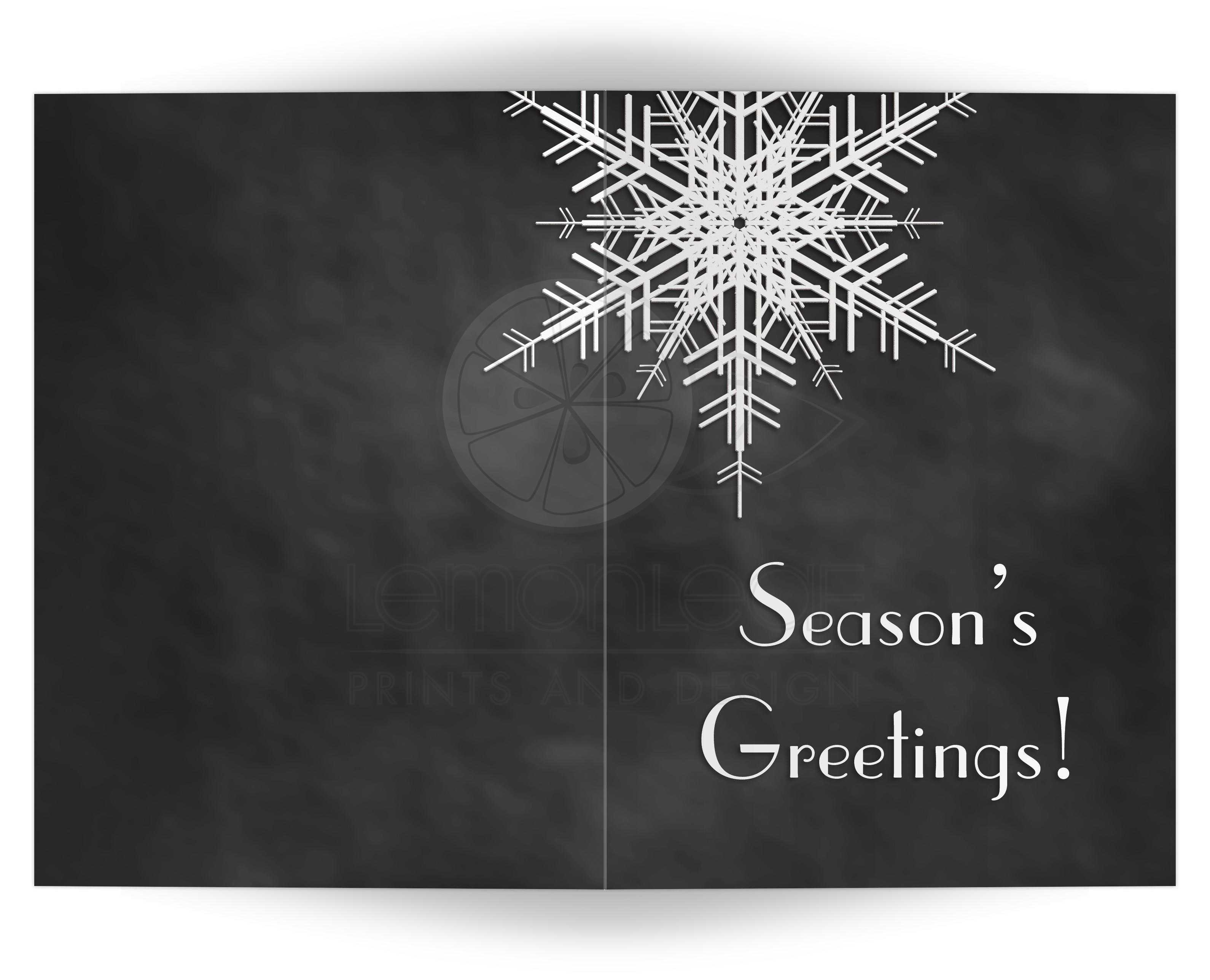 Holiday card seasons greetings snowflake on chalkboard 5x7 a large snowflake decorates this non denominational faux chalkboard holiday card m4hsunfo