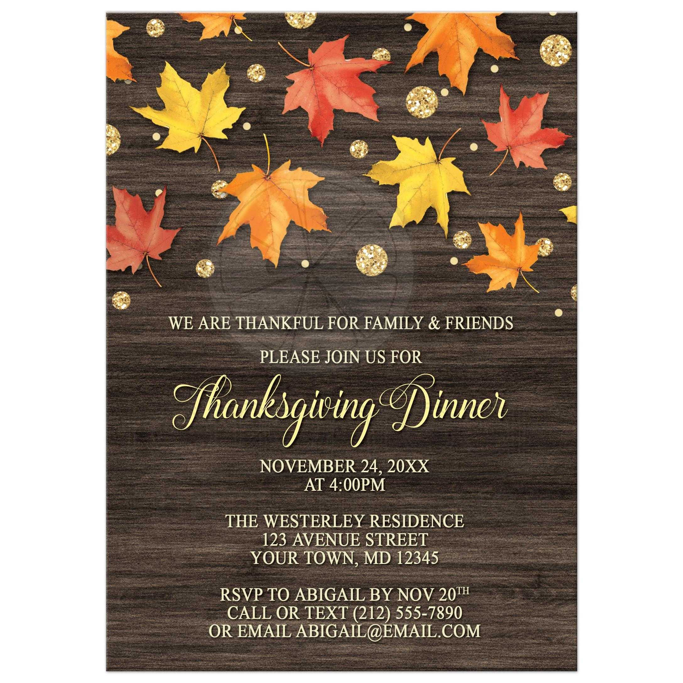Invitations Falling Leaves With Gold Autumn - Thanksgiving party invitation templates