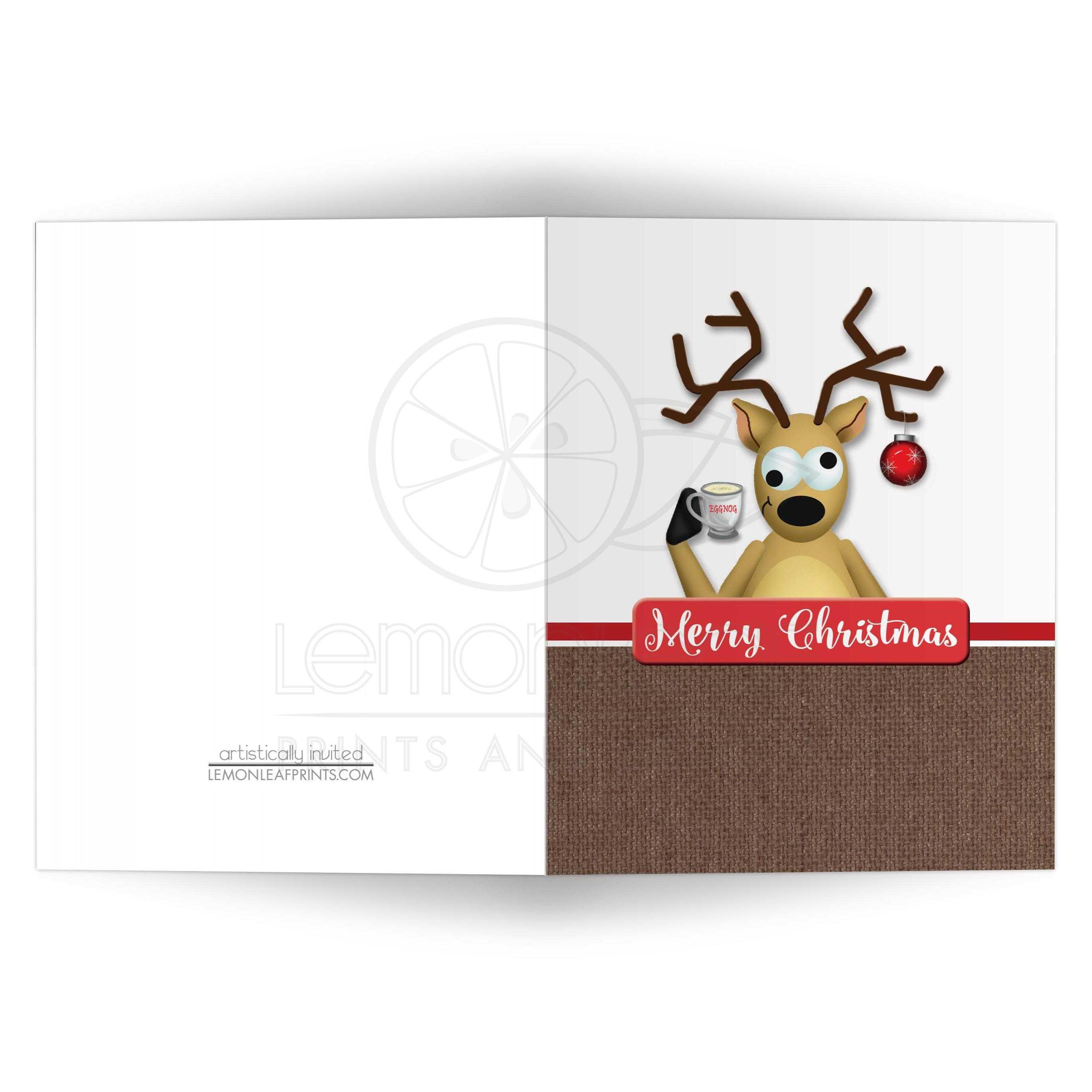 Christmas Cards - Funny Tipsy Reindeer Eggnog Merry Christmas