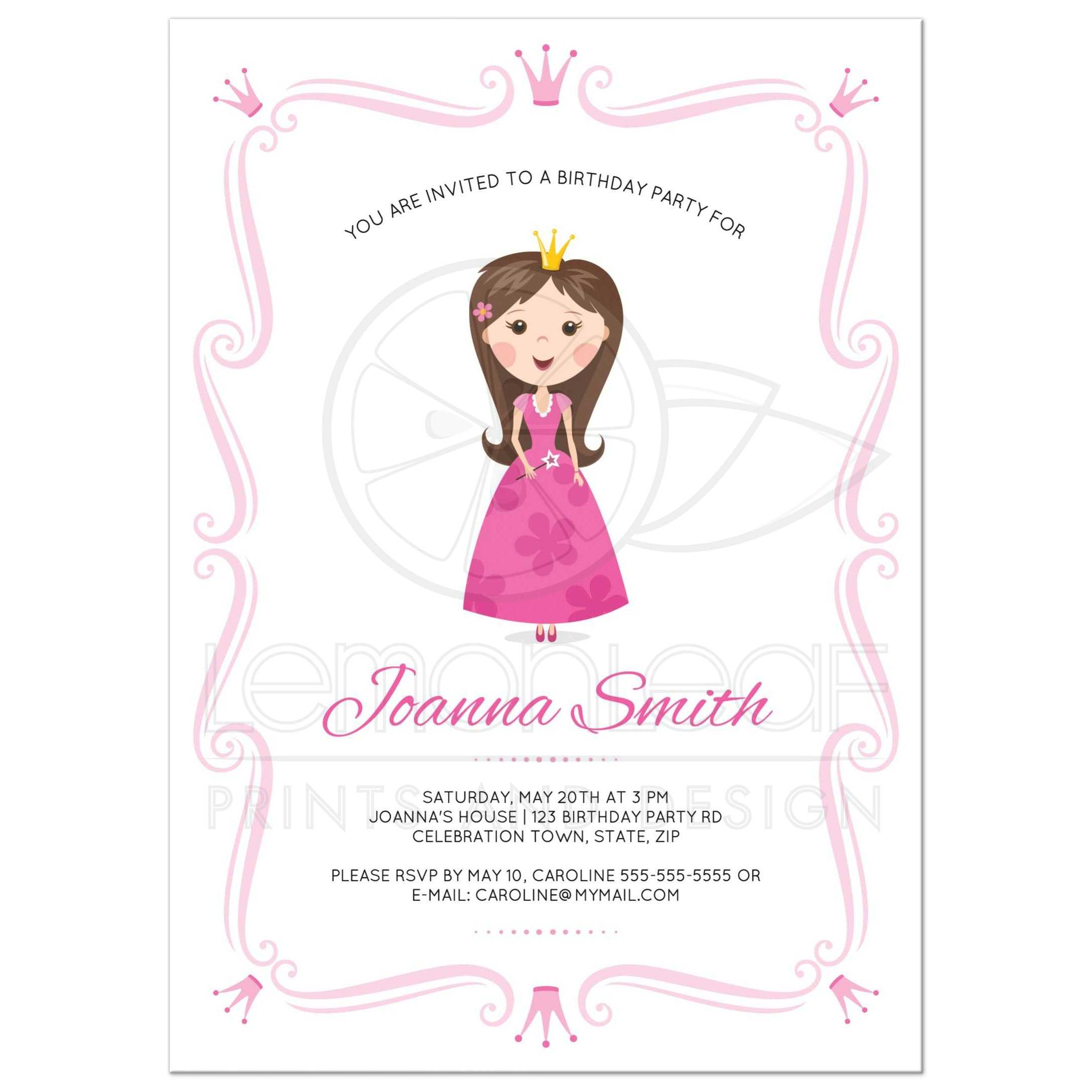 Princess birthday party invitation with pink crowns and elegant pink princess birthday party invite for girls with ornate frame filmwisefo