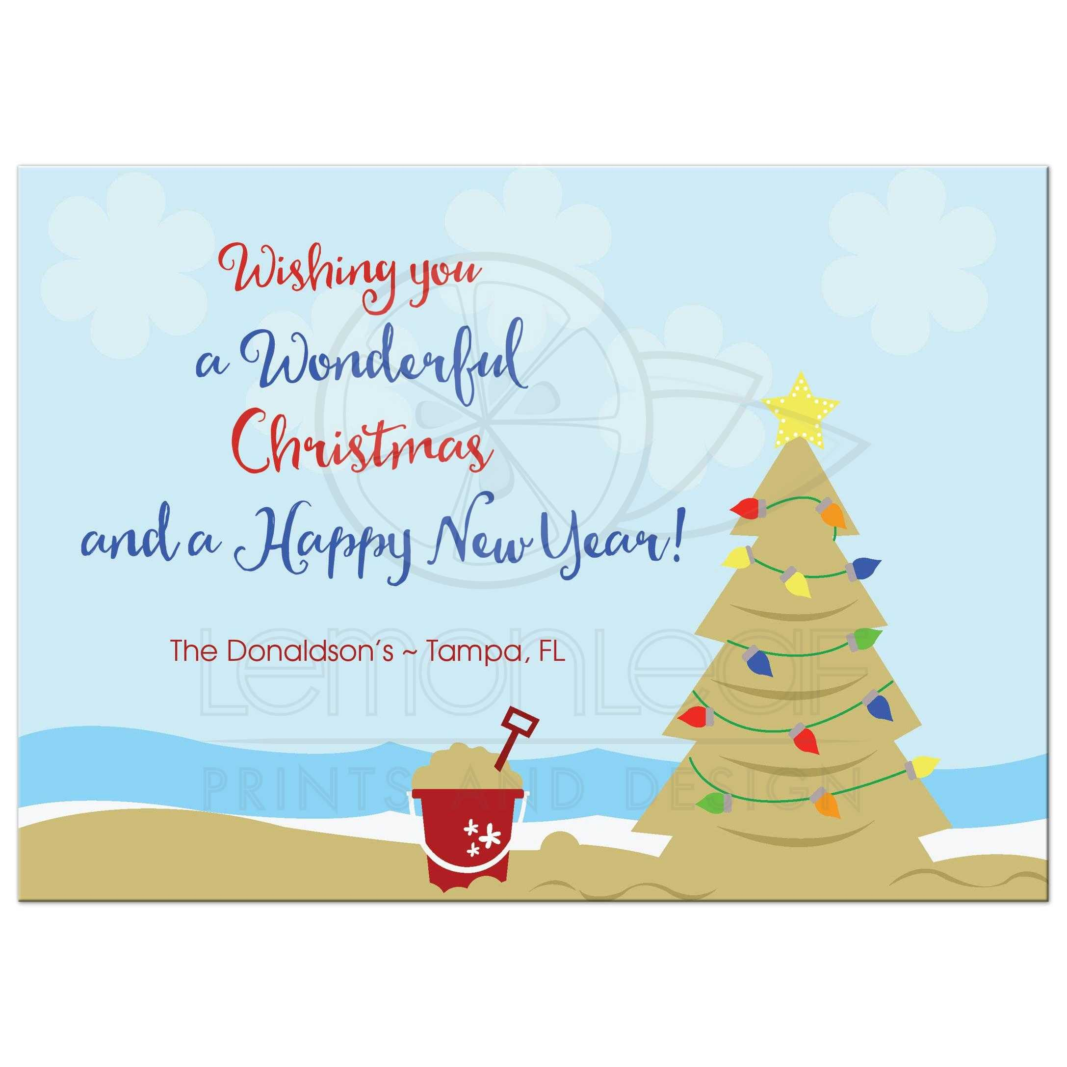 Beach Theme Holiday Christmas Tree Card