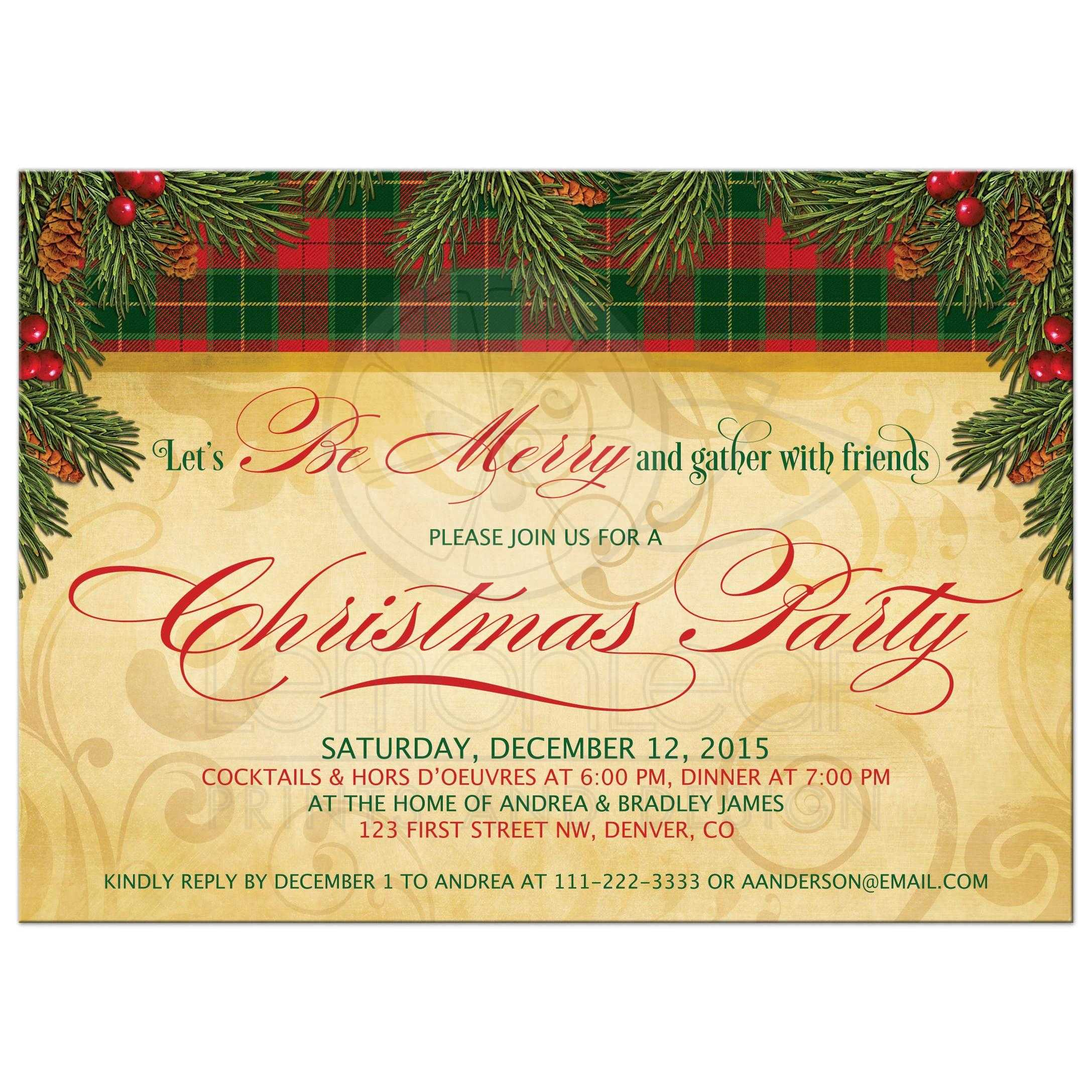 traditional christmas party invitation pine boughs cones pine boughs and berries traditional christmas party invitation front
