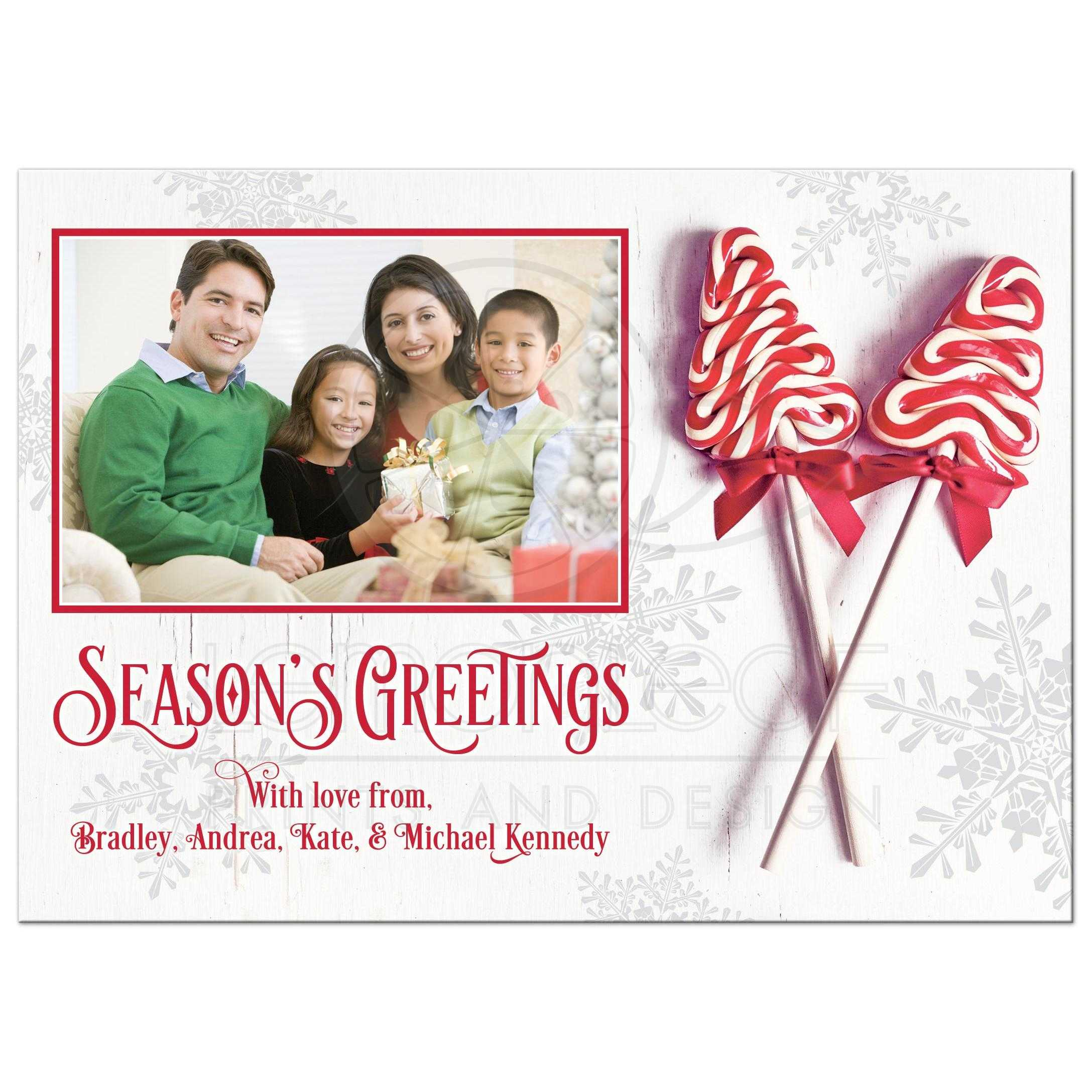 Candy Cane Christmas Photo Greeting Card Red White