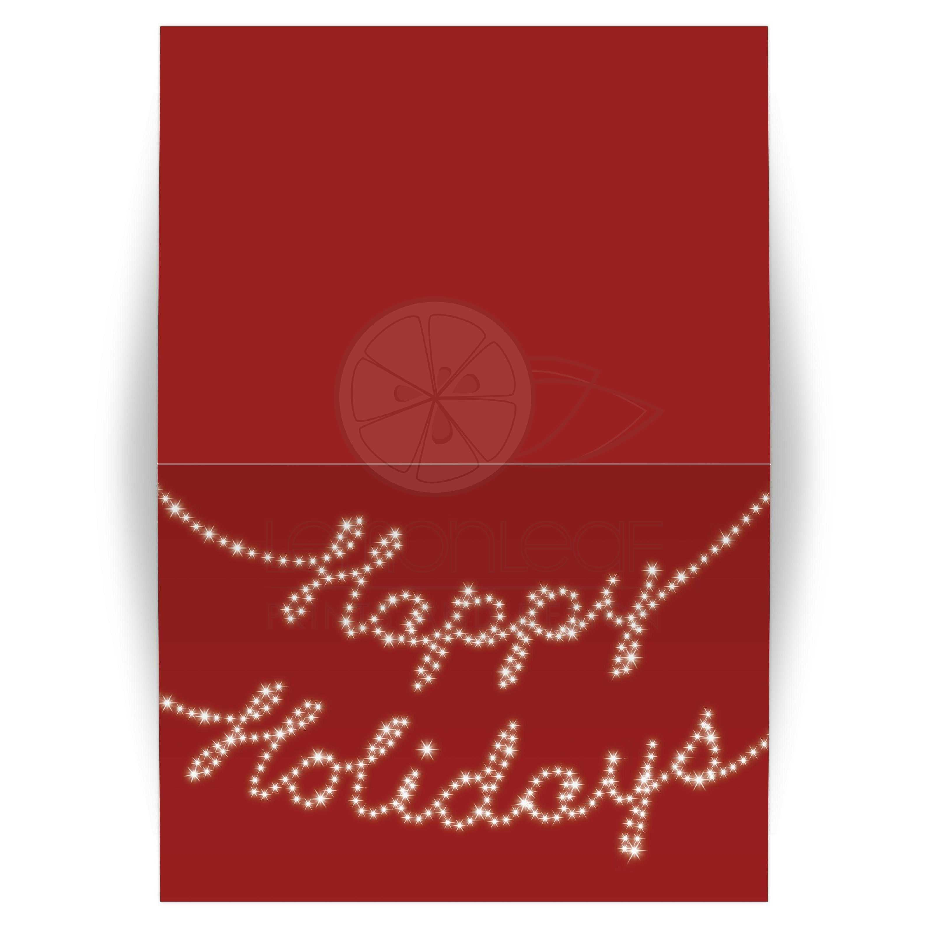 happy holidays written in christmas lights on red background - Happy Holidays Card