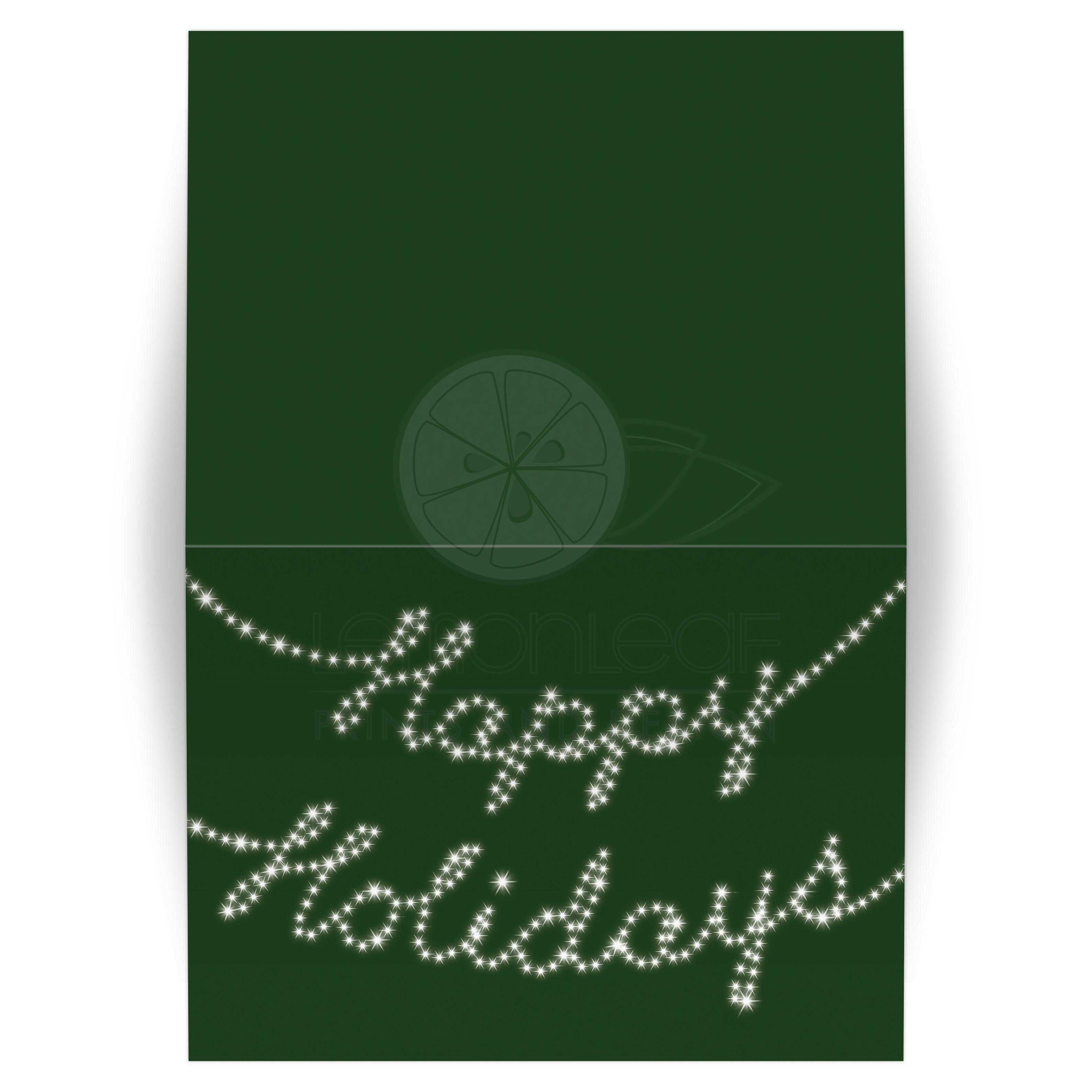 Holiday Card Happy Holidays In Twinkle Lights Green 5x7