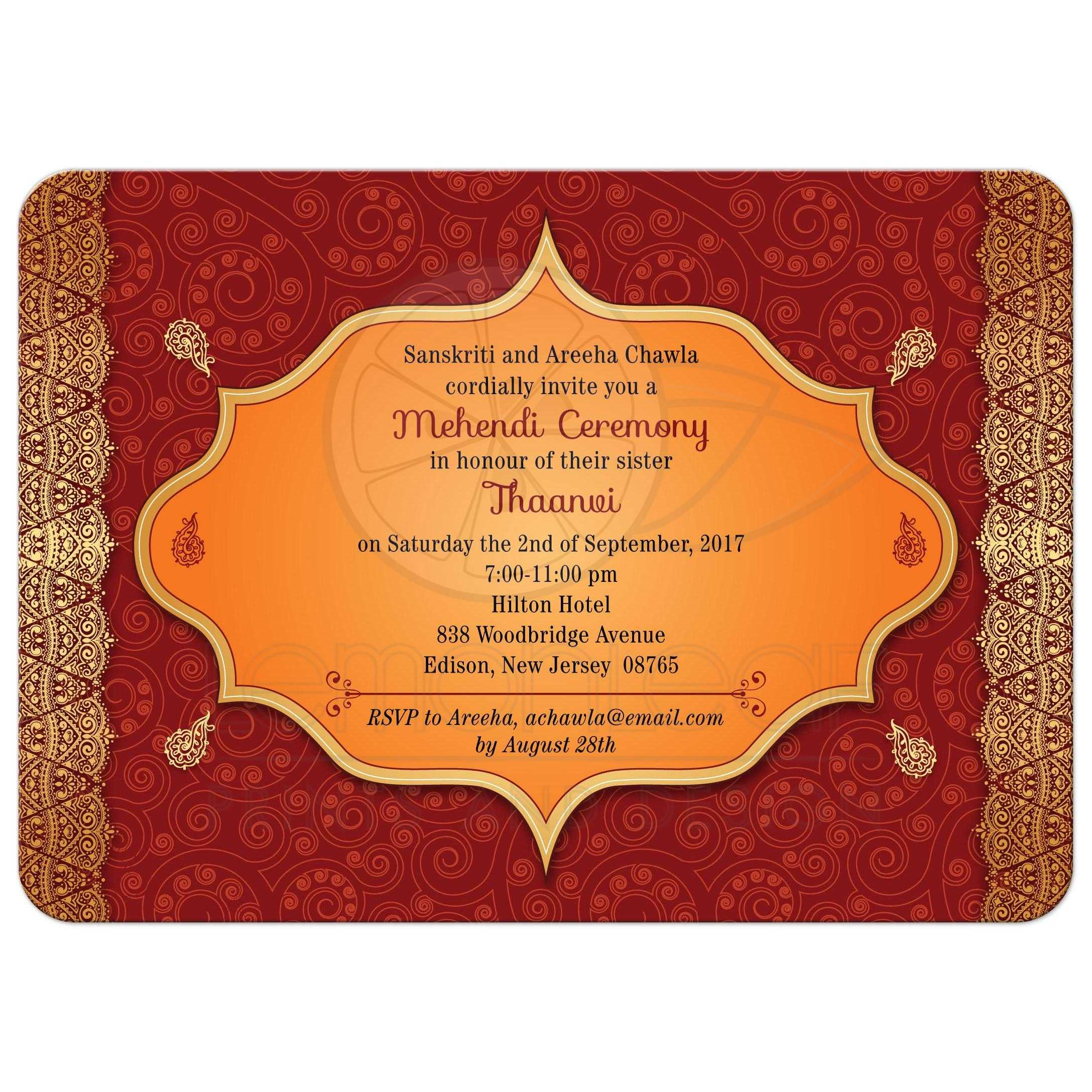 Party Invitation Red Paisley Mehndi Ceremony Bridal Wedding Shower