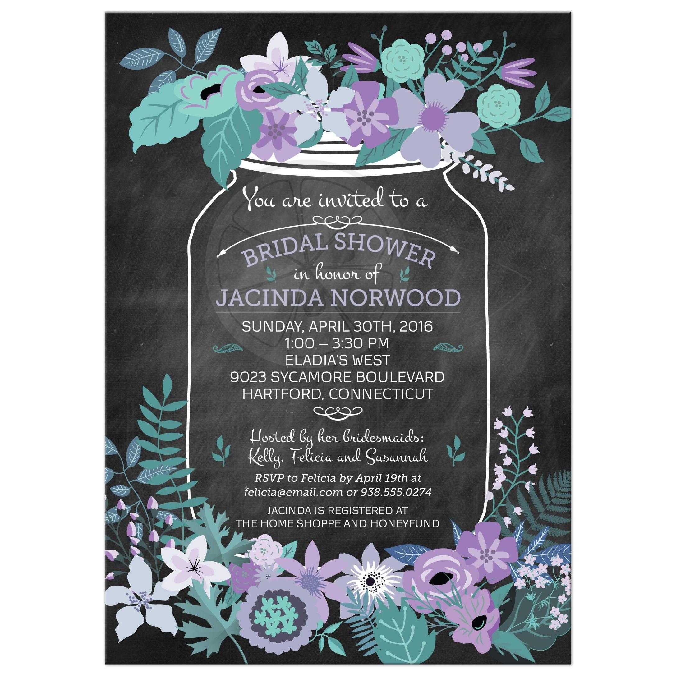 Chalkboard mason jar purple and green flowers bridal wedding shower bridal wedding shower invitation chalkboard mason jar purple and green flowers filmwisefo