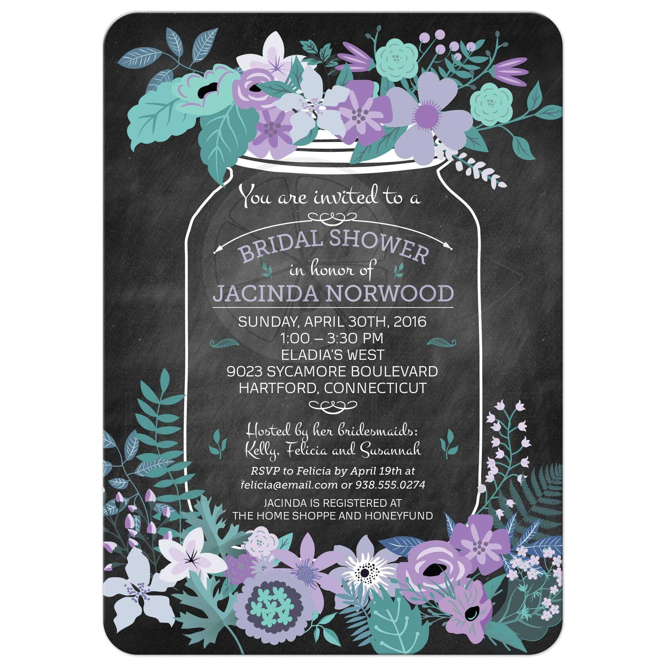 chalkboard mason jar purple and green flowers bridal