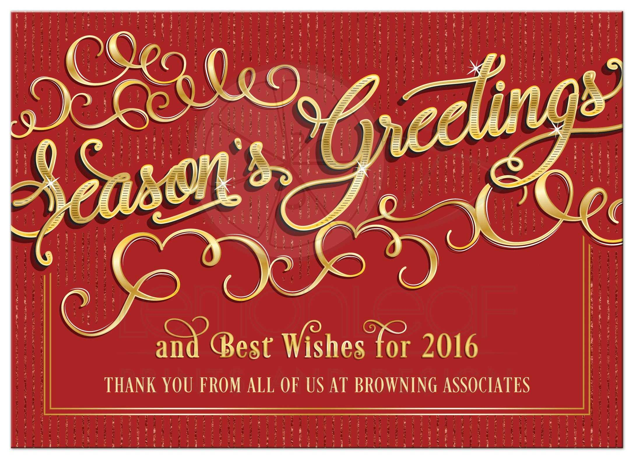 Business Holiday Card Elegant Seasons Greetings Red Gold