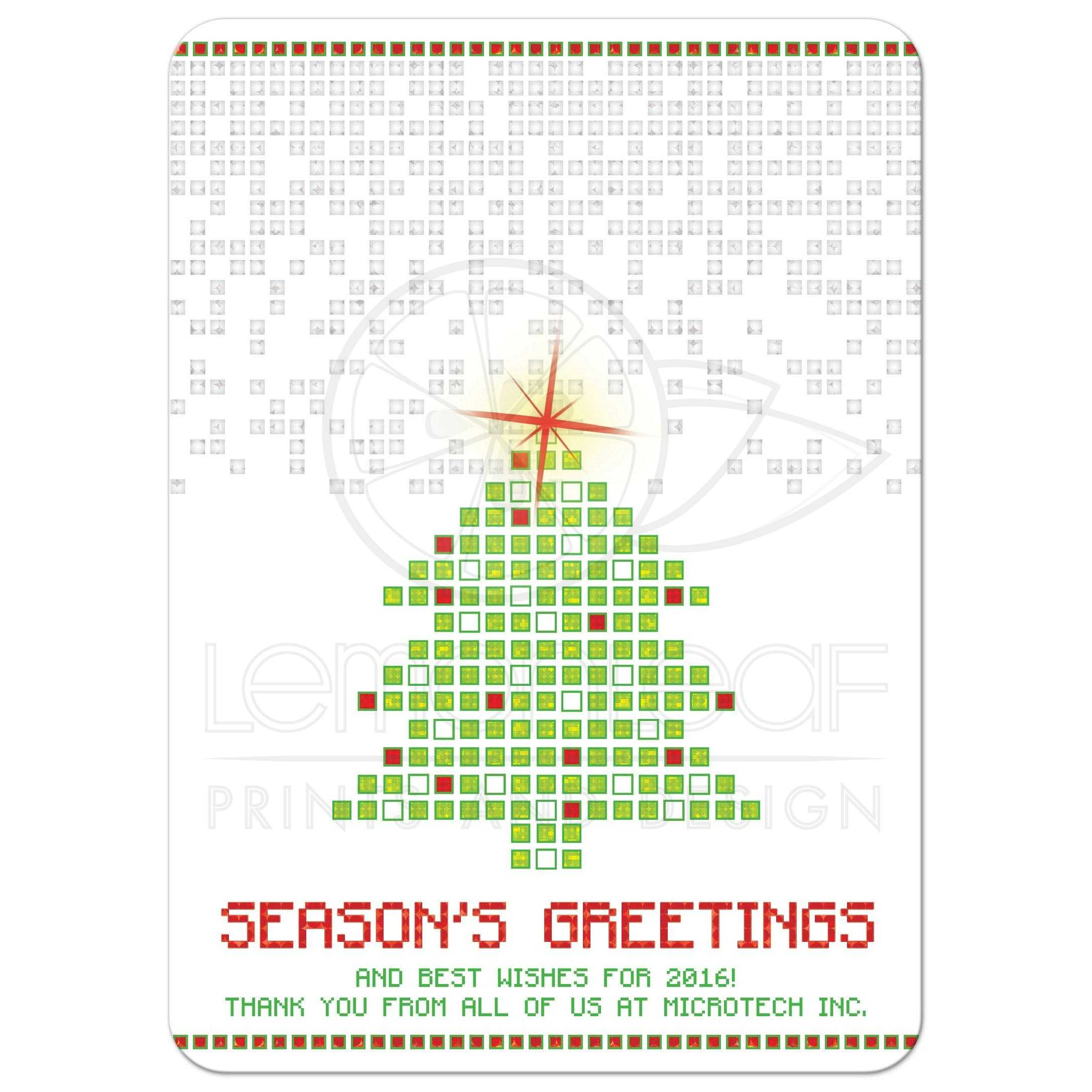 digital pixels pixelated 2d gaming or computer look christmas tree business holiday card - Business Christmas Cards