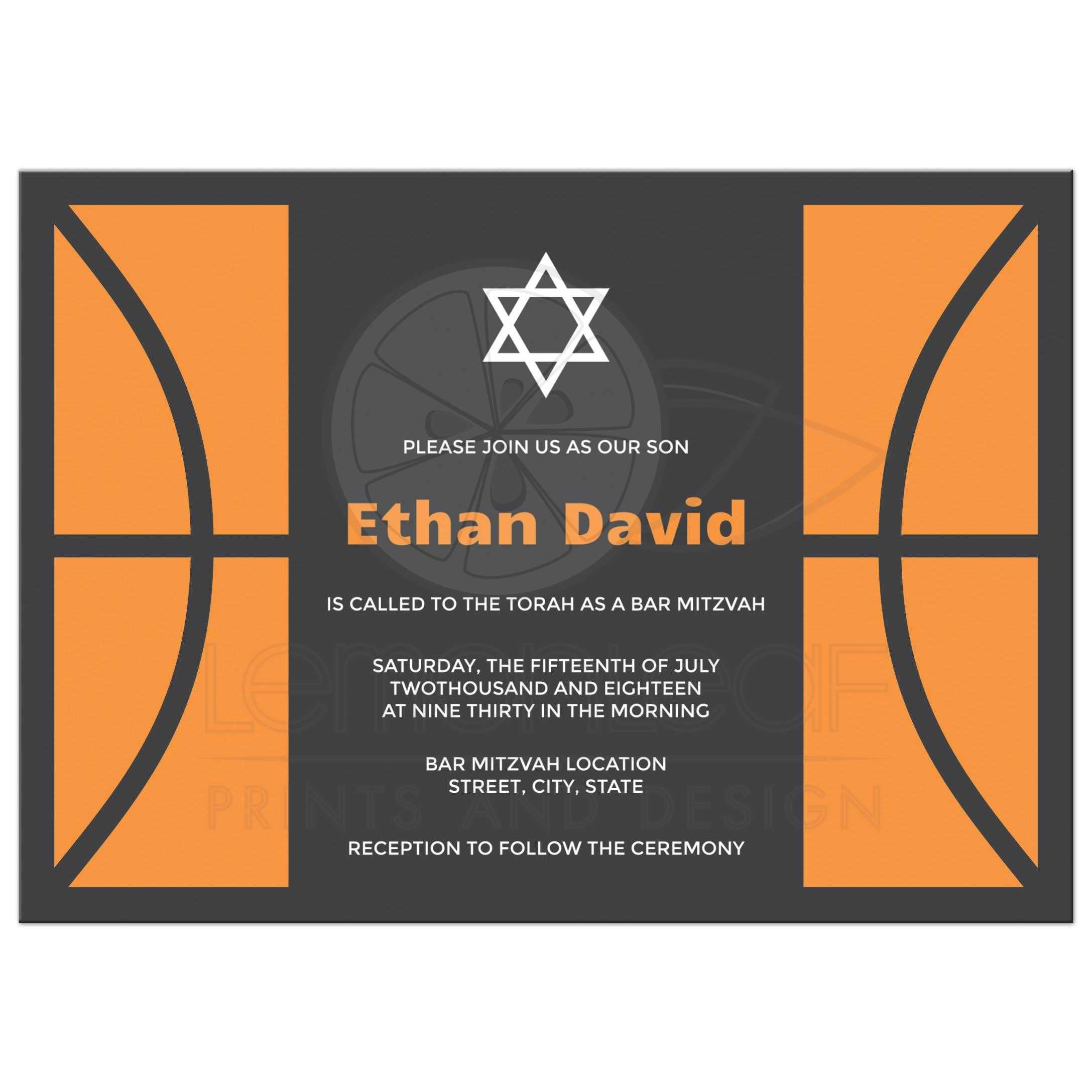 Basketball bar mitzvah invitation Bold and modern design in orange