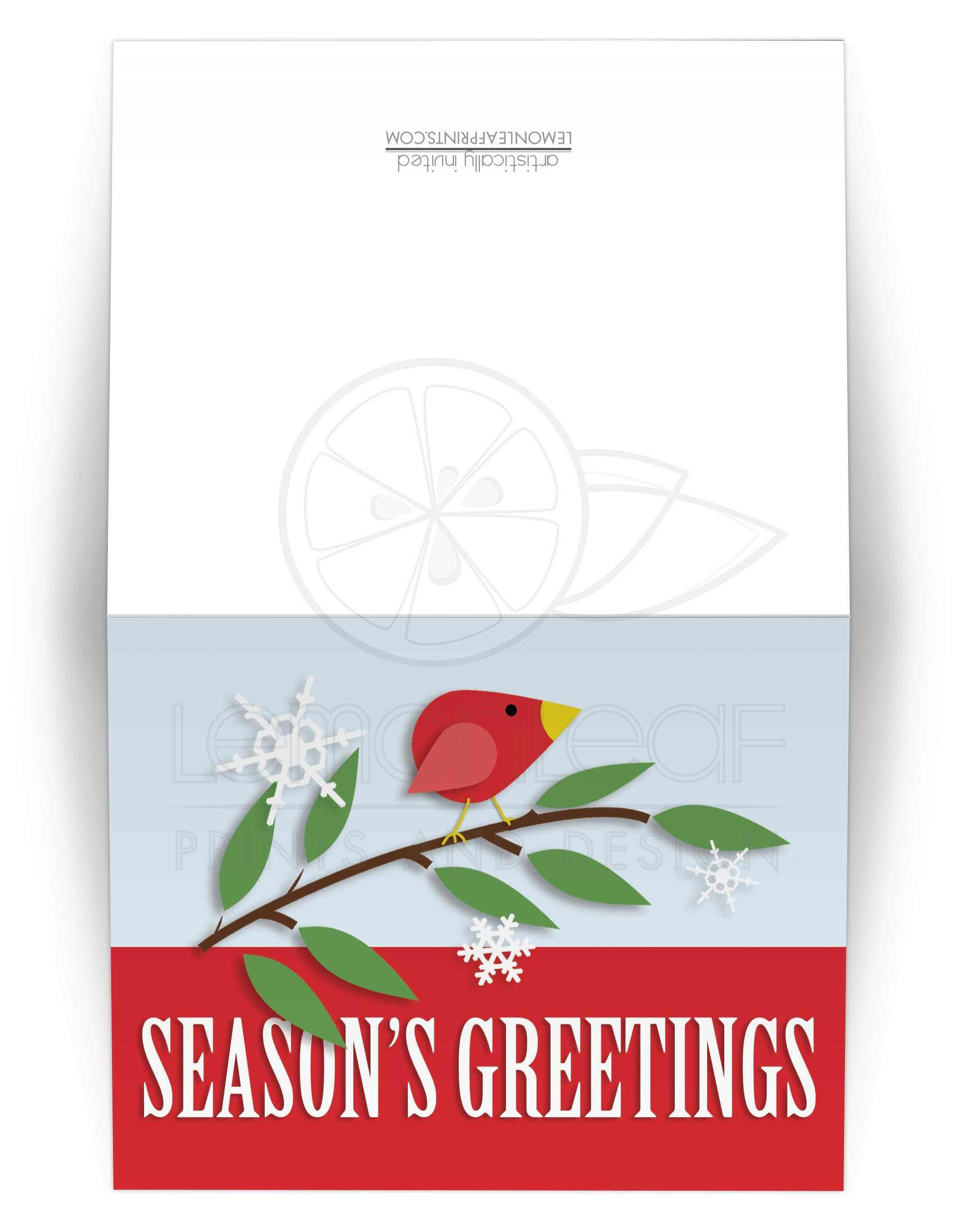 Christmas Cards Red Holiday Bird Seasons Greetings