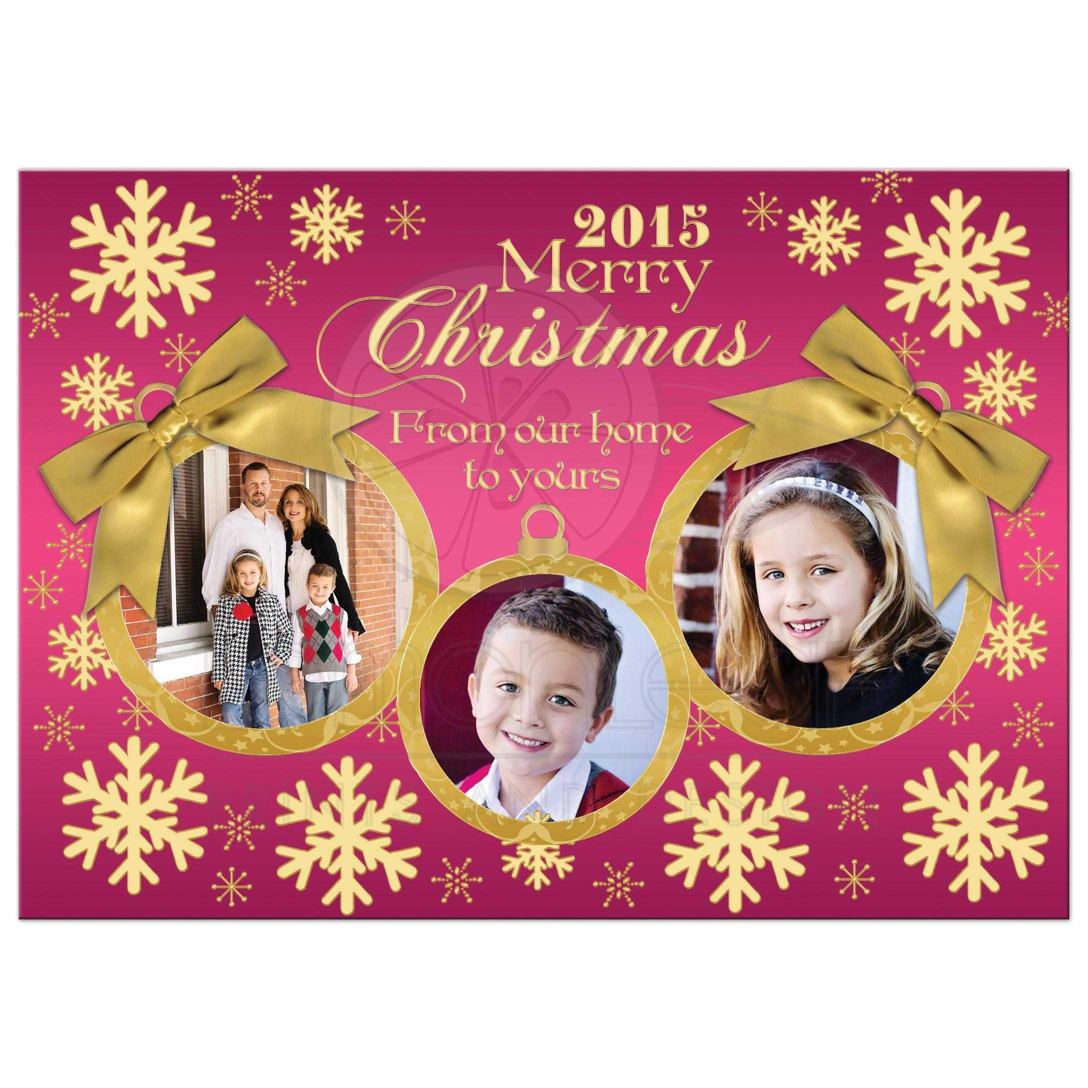 Christmas Photo Card   Pink, Gold Snowflakes   Gold Ornaments ...