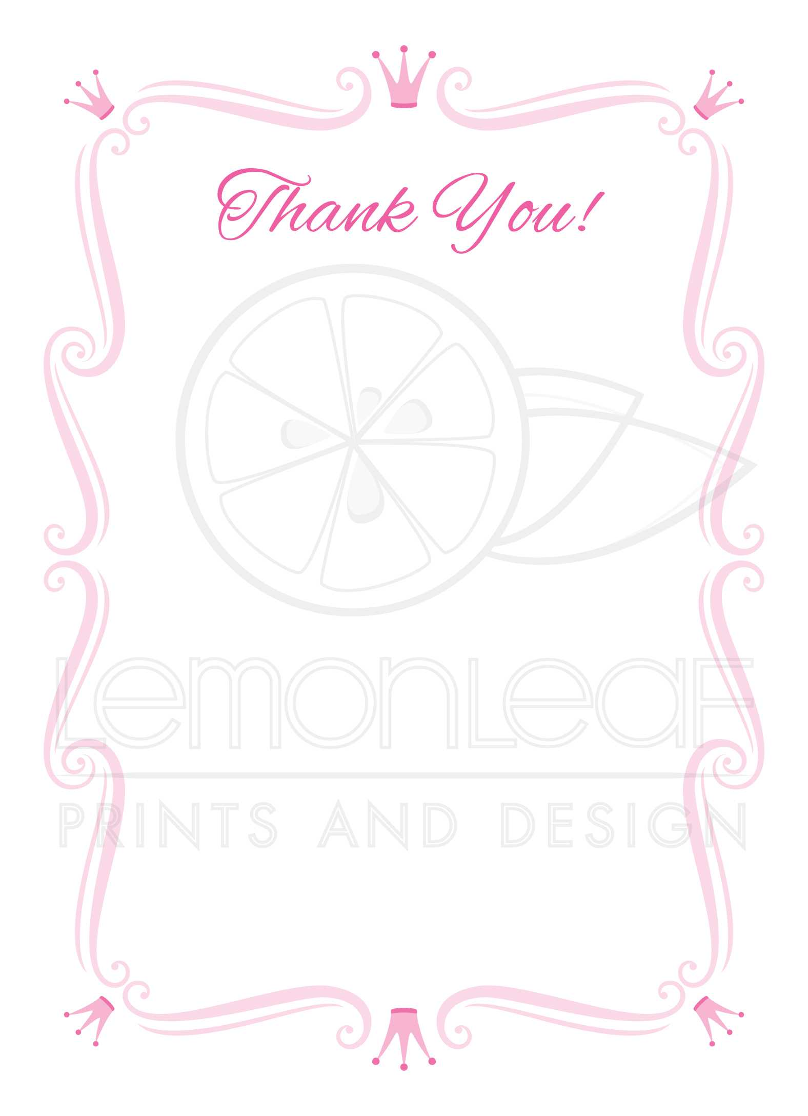 Pink Princess Party Thank You Cards