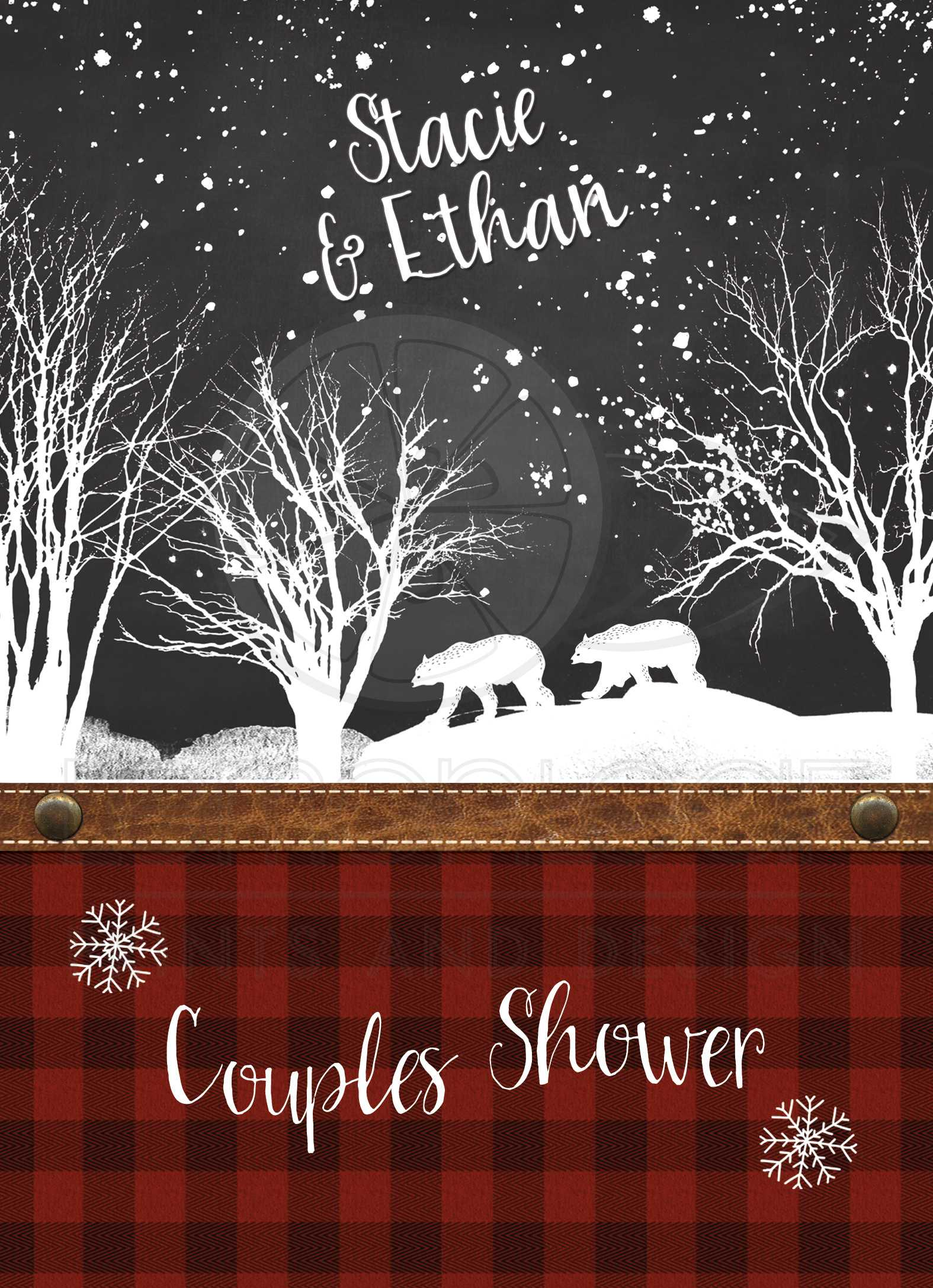 Fox /& Deer Rustic Wedding Invitations DCo Lovenotes Winter  Camping Outdoors Plaid Woodsy Bear