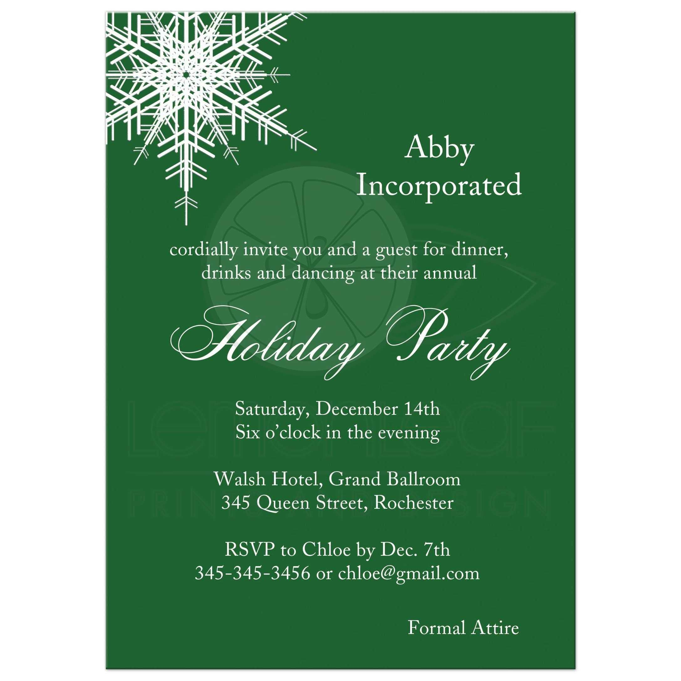 Corporate Holiday Party - Offset Snowflake in green