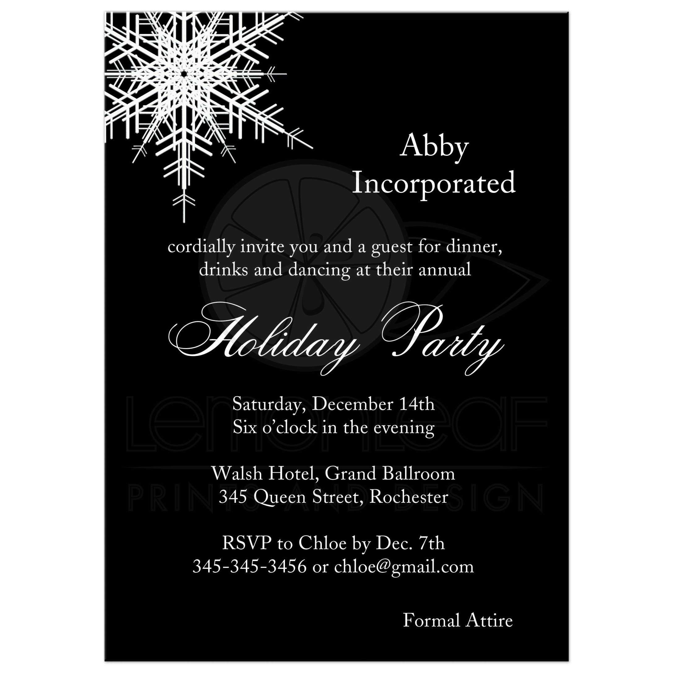 Corporate holiday party offset snowflake in black corporate holiday party invitation with large offset snowflake on bold black background stopboris