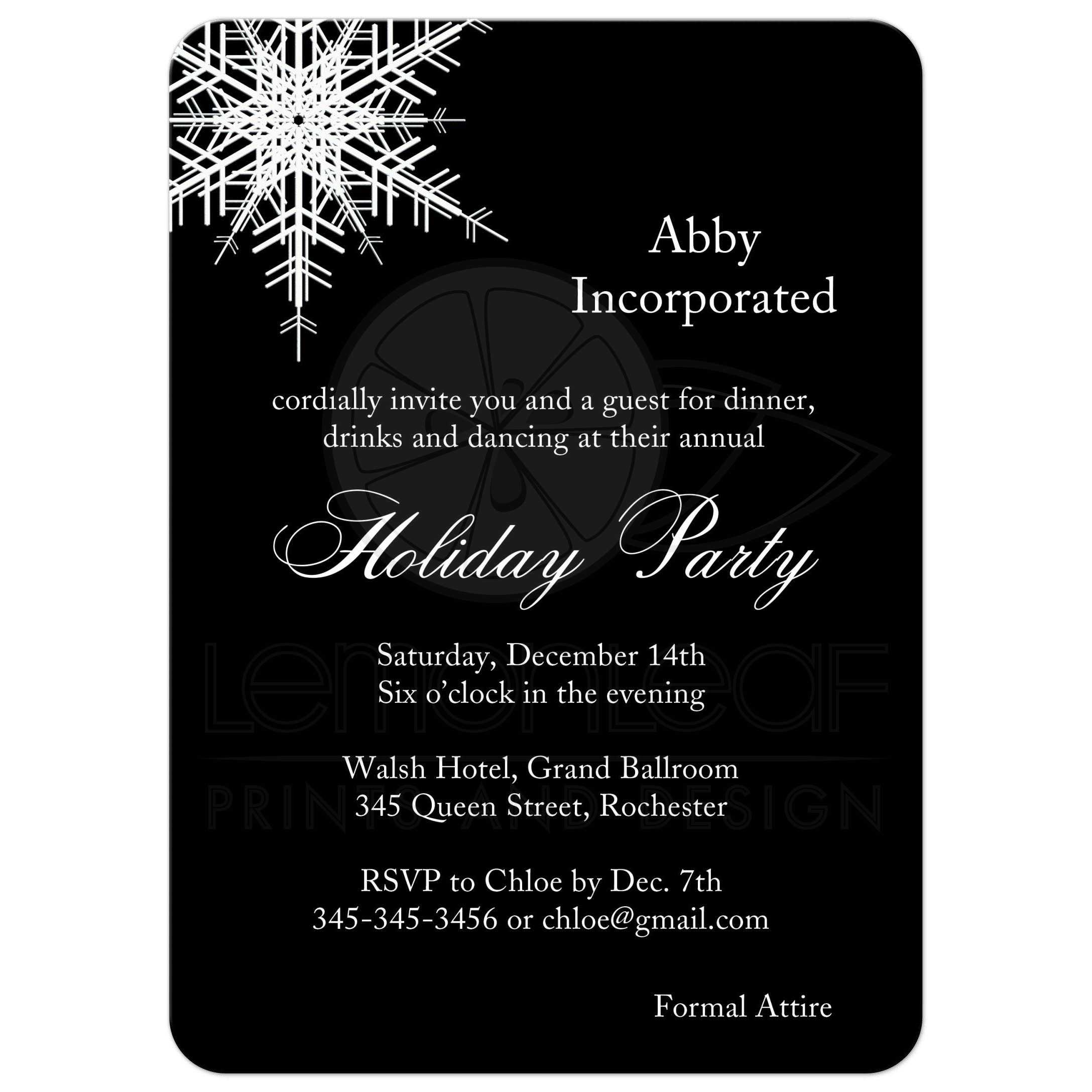 Corporate Holiday Party Offset Snowflake In Black