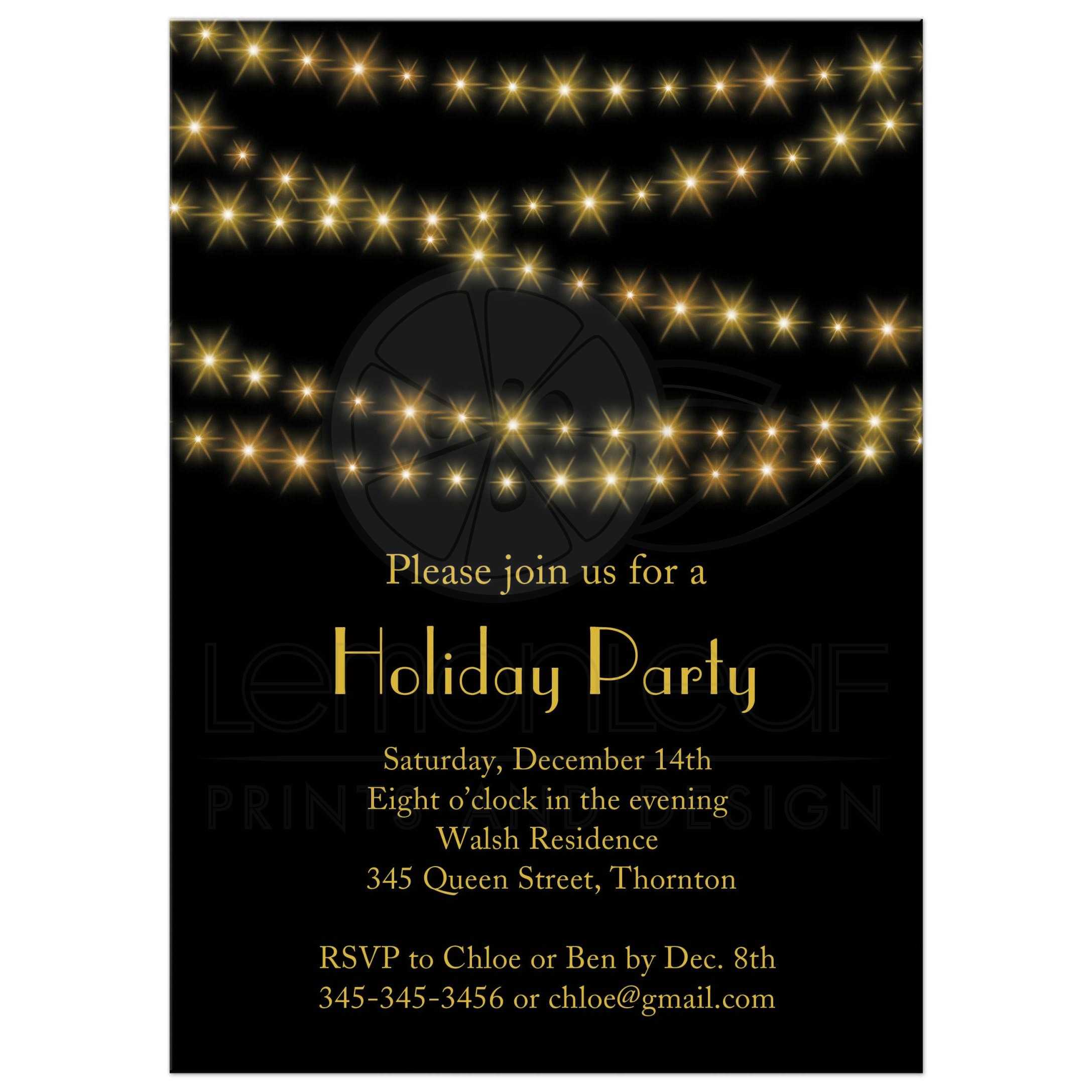 holiday party invitation gold twinkle lights on black