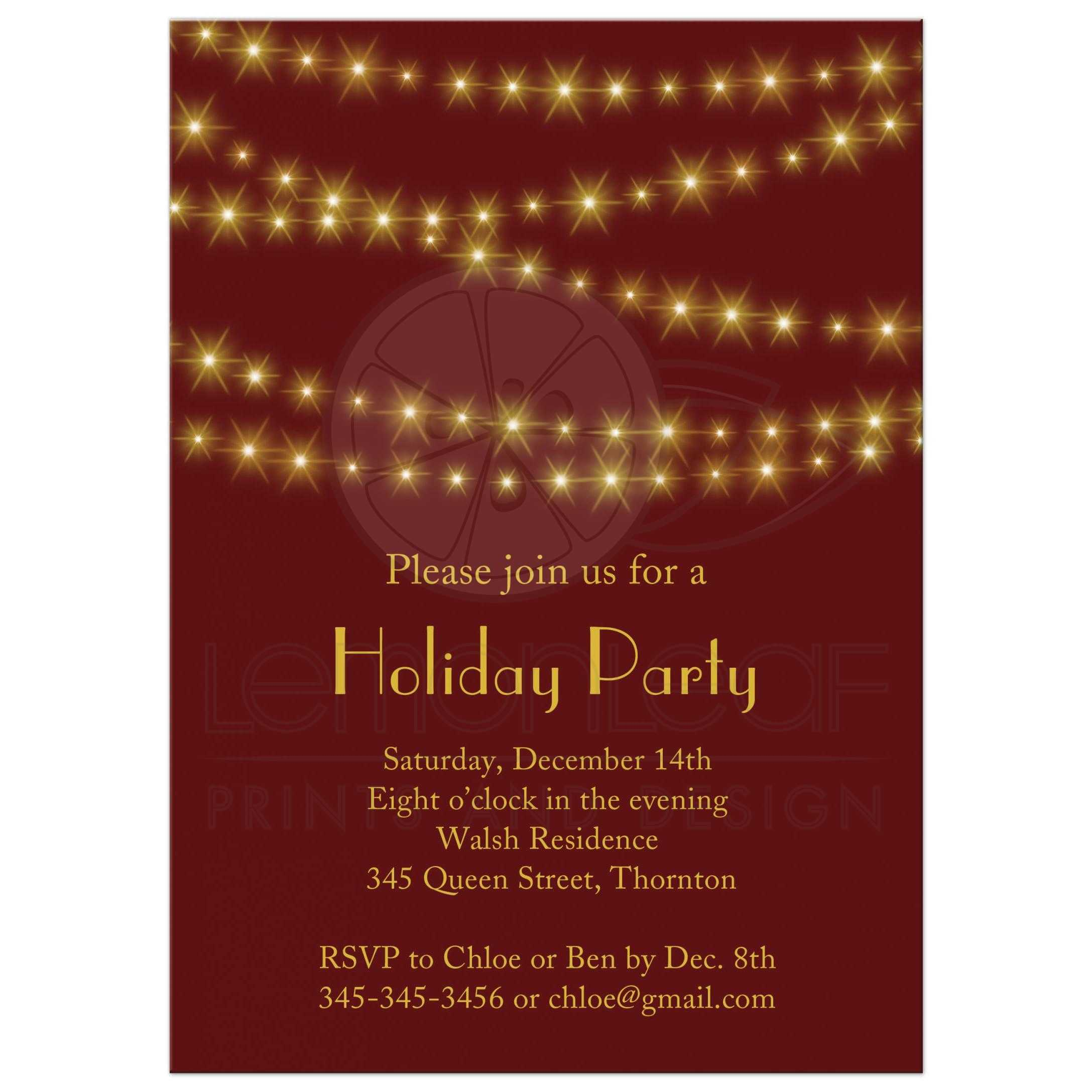 Holiday Party Invitation - Gold Twinkle Lights on Red