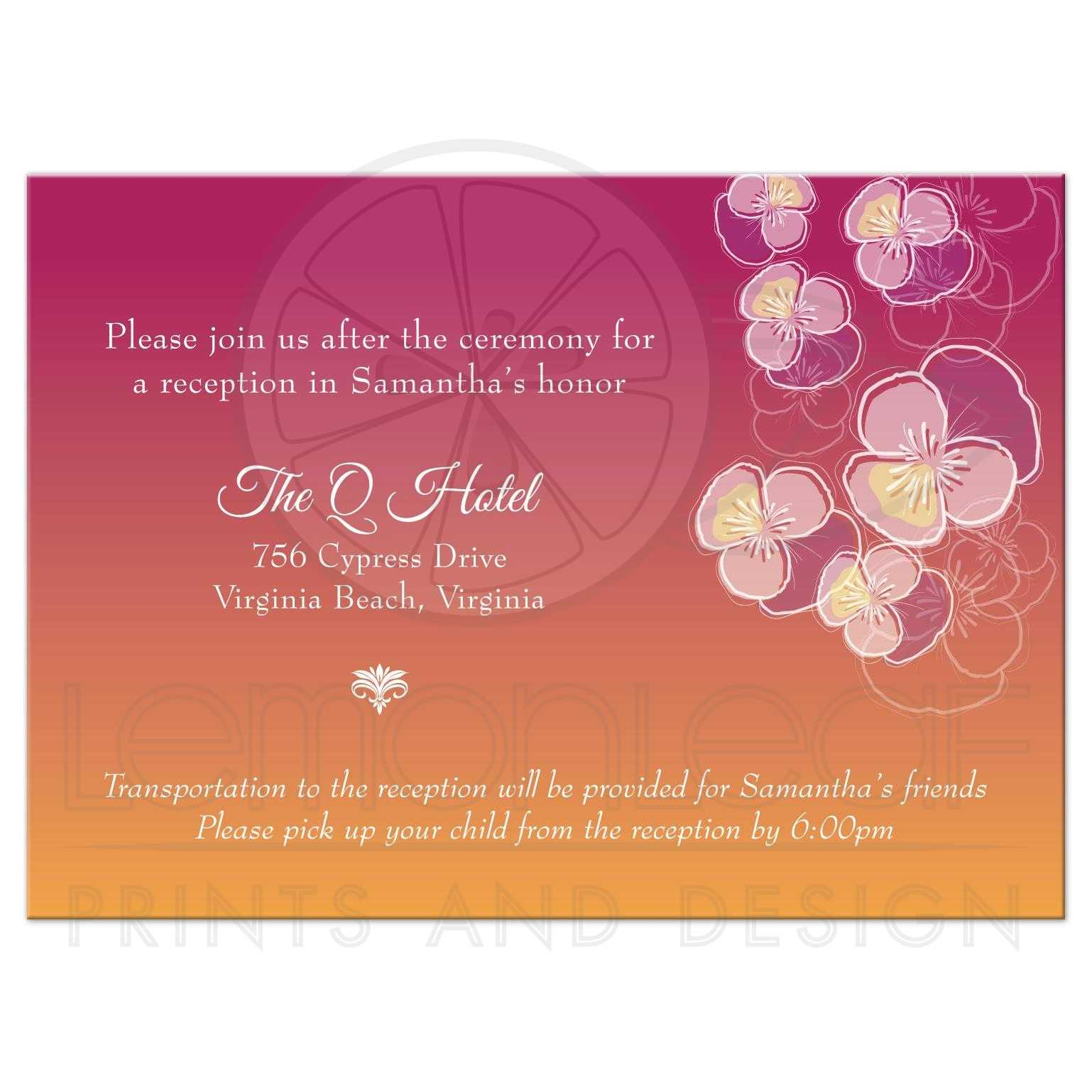 Pink Gold Ombre Floral Falling Pansy Bat Mitzvah Reception Insert Card