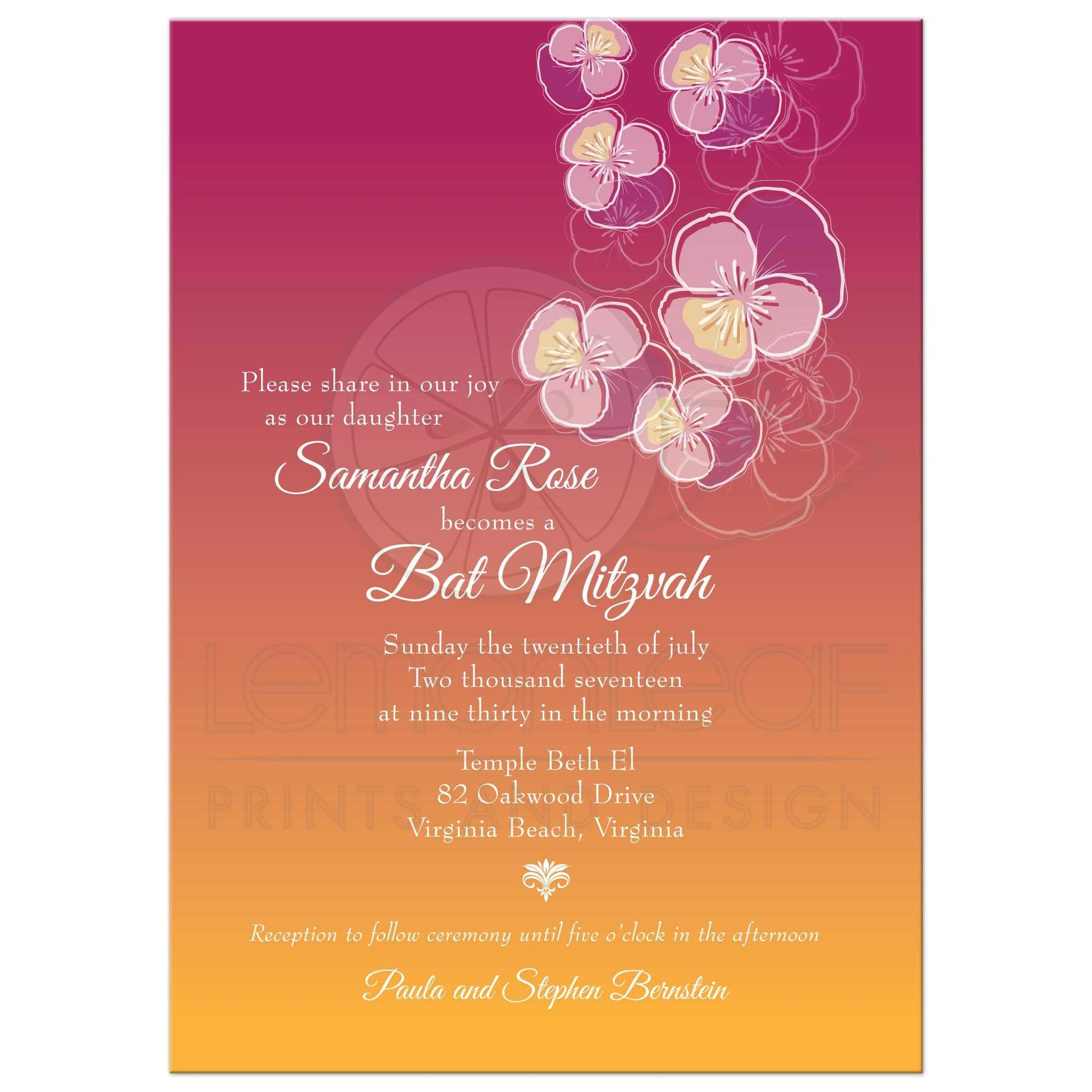 Pink and Gold Ombre Floral Falling Pansy Bat Mitzvah Invitation