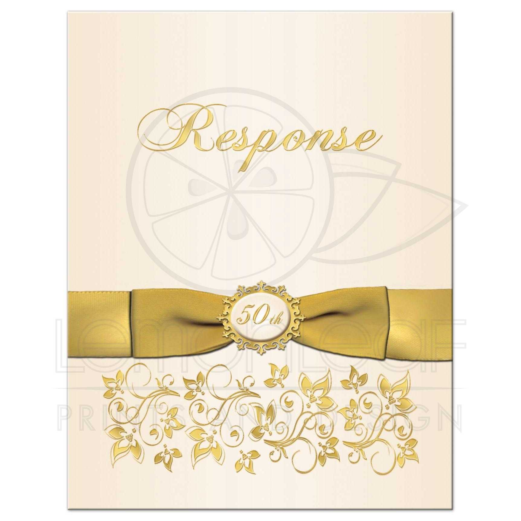Th wedding anniversary a rsvp card ivory and gold