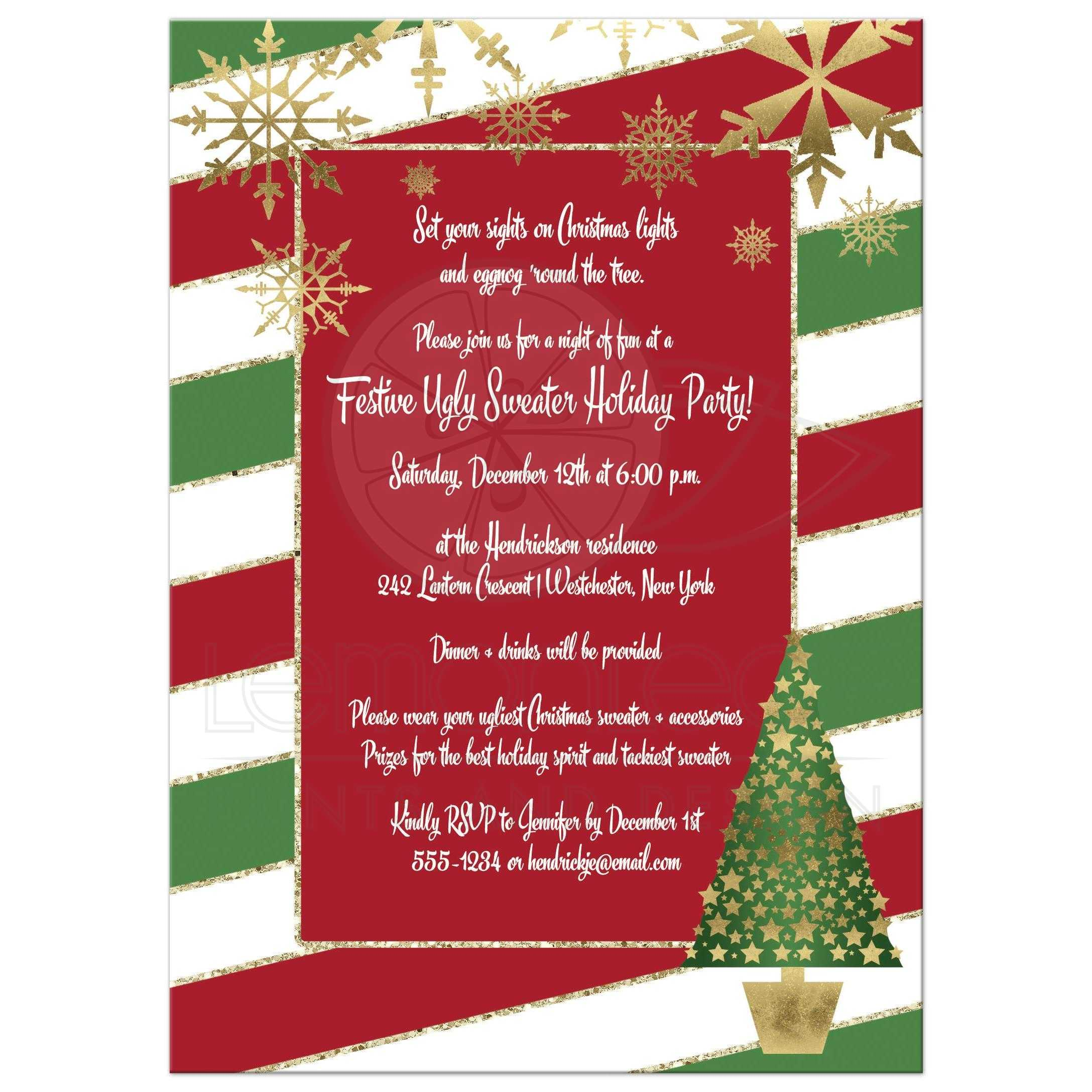 Ugly Christmas Sweater Party Invite.Holiday Party Invitation Red White Green Candy Cane Stripes Faux Gold Snowflakes Tree