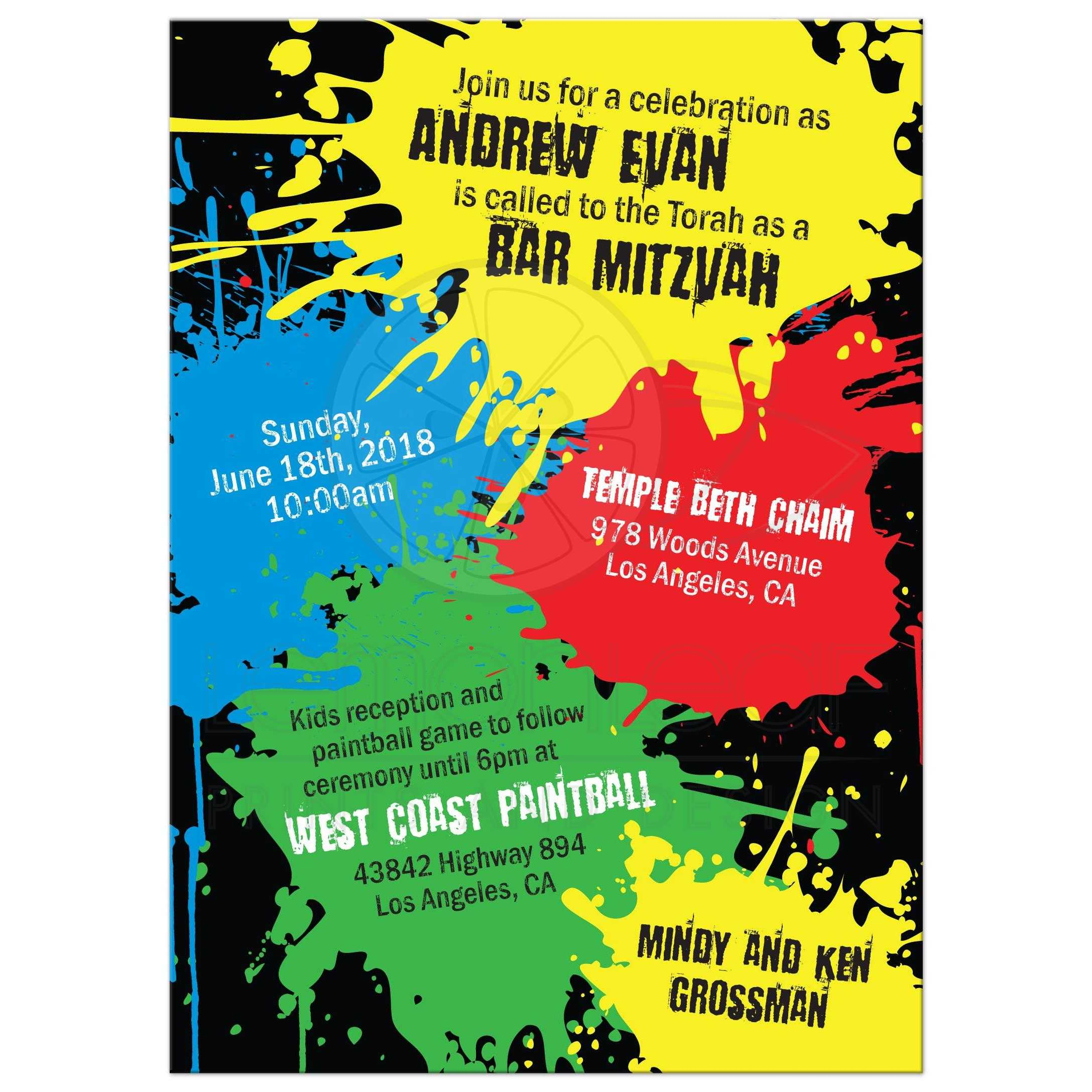 picture about Free Printable Paint Party Invitations known as Paintball Celebration Bar Mitzvah Invitation