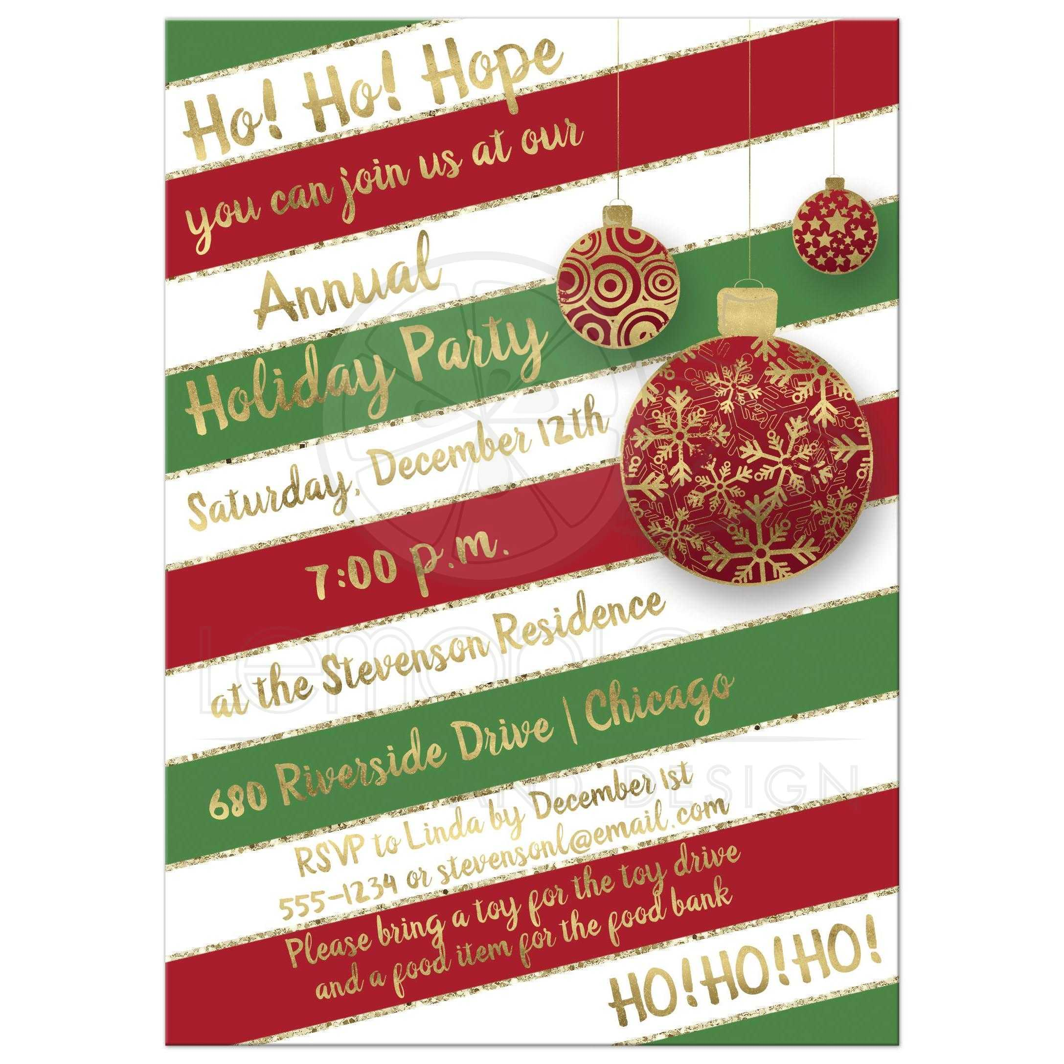 Holiday Party Invitation Red Green White Candy Cane Stripes Hanging Gold Ornaments