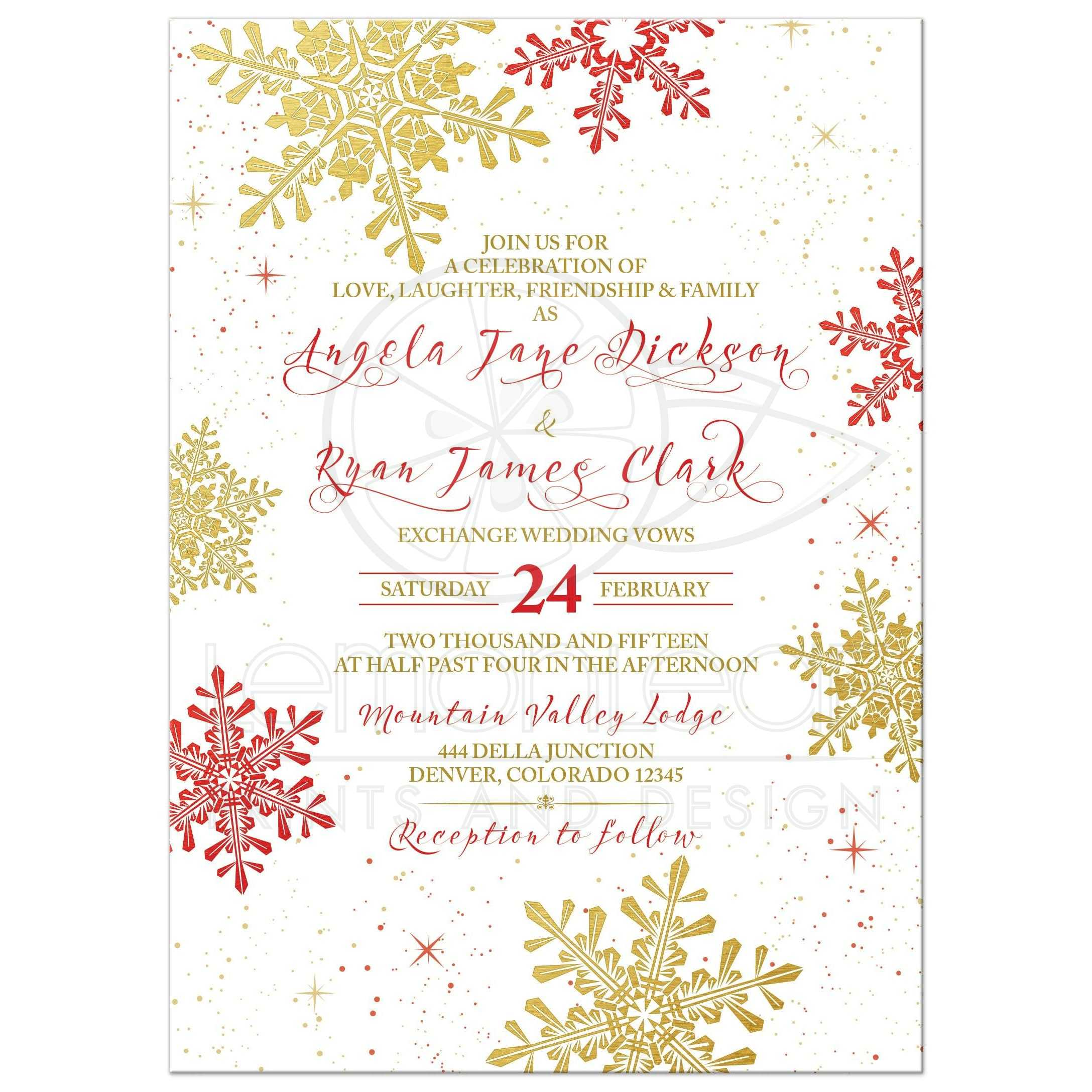 Red, Gold, And White Elegant Snowflake Winter Wedding Invitation Front ...