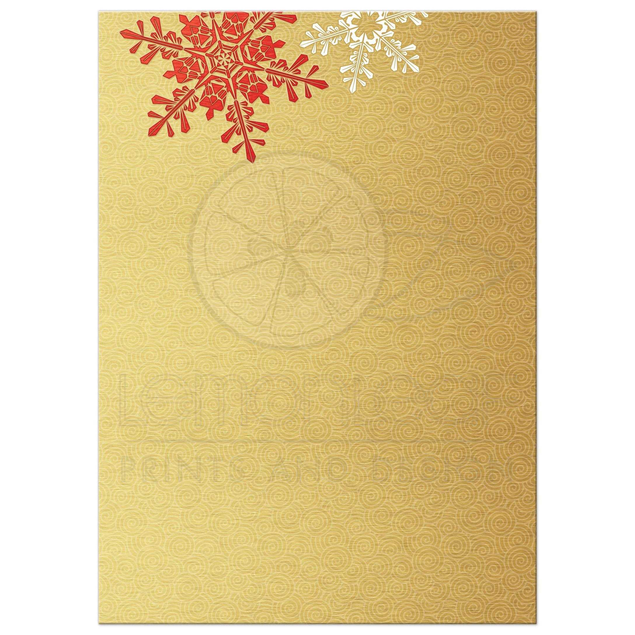... Red, Gold, And White Elegant Snowflake Winter Wedding Invitation Back  ...